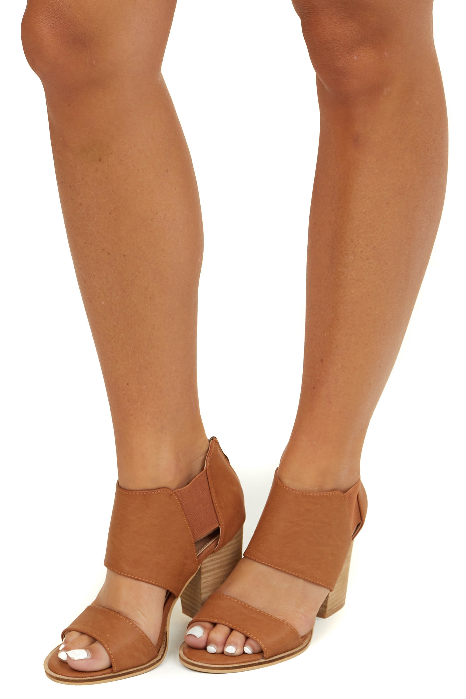 Cognac Faux Leather Open Toed Heels with Elastic Sides