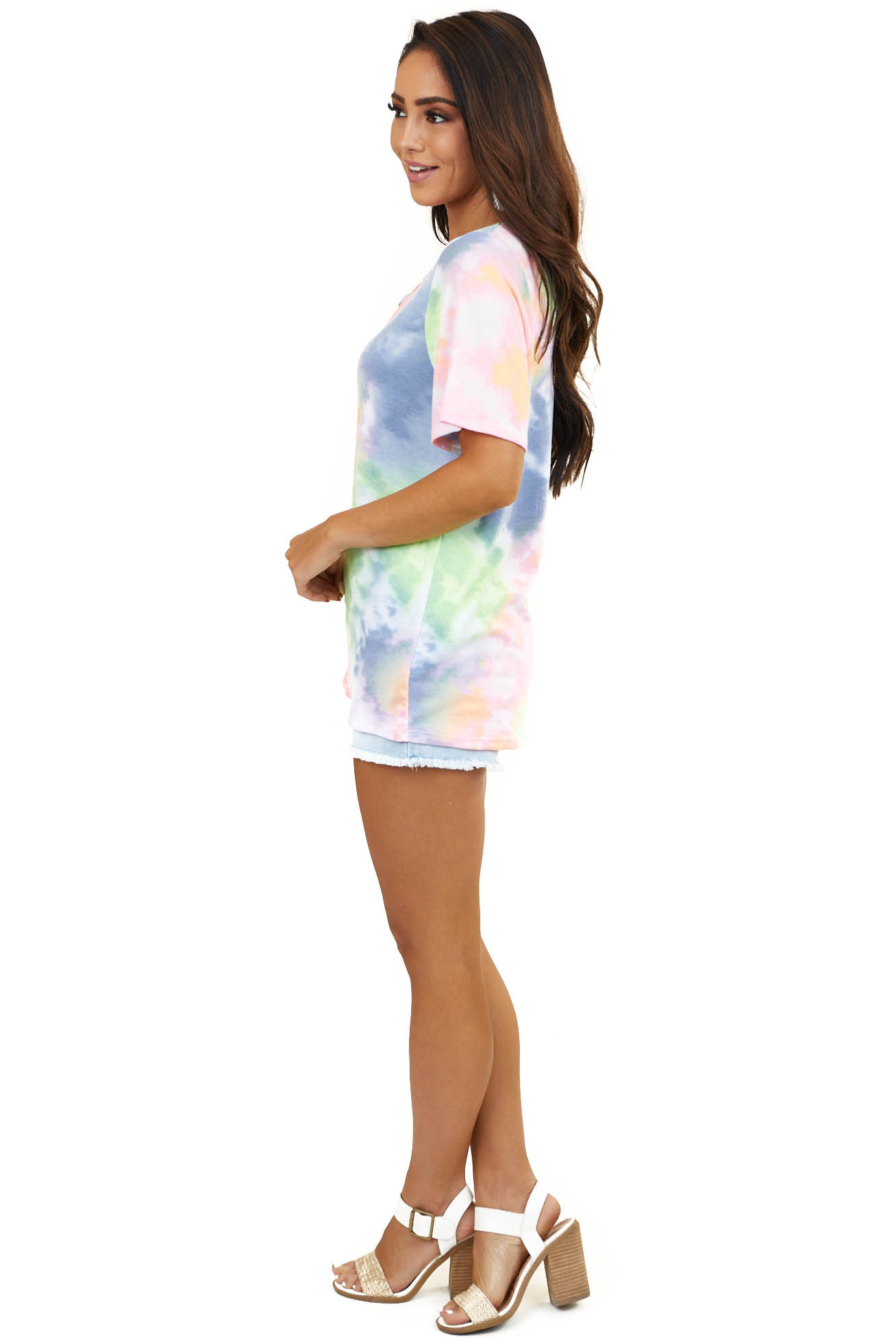 Multicolor Tie Dye Knit Top with Front Cutout Detail