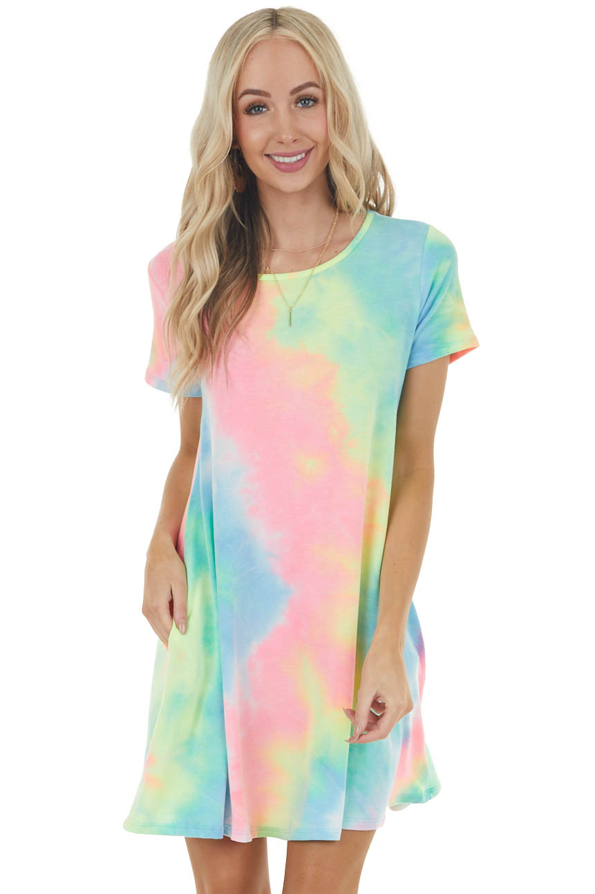 Bright Pink Multicolor Tie Dye Mini Dress with Pockets