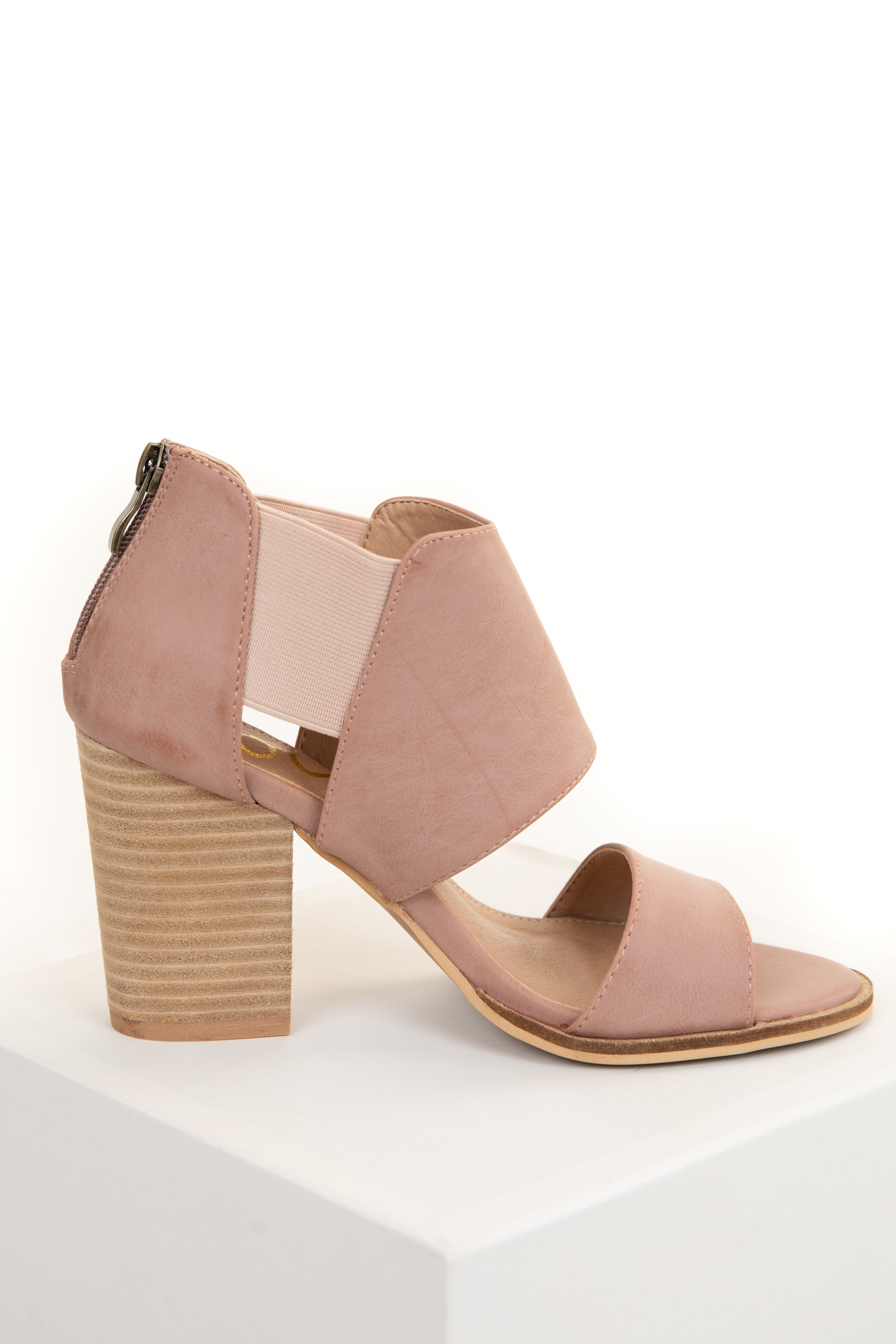 Blush Pink Faux Leather Open Toed Heels with Elastic Sides