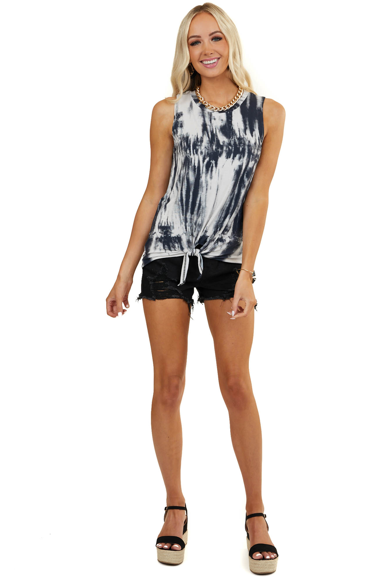 Charcoal Tie Dye Knit Tank Top with Front Tie Detail