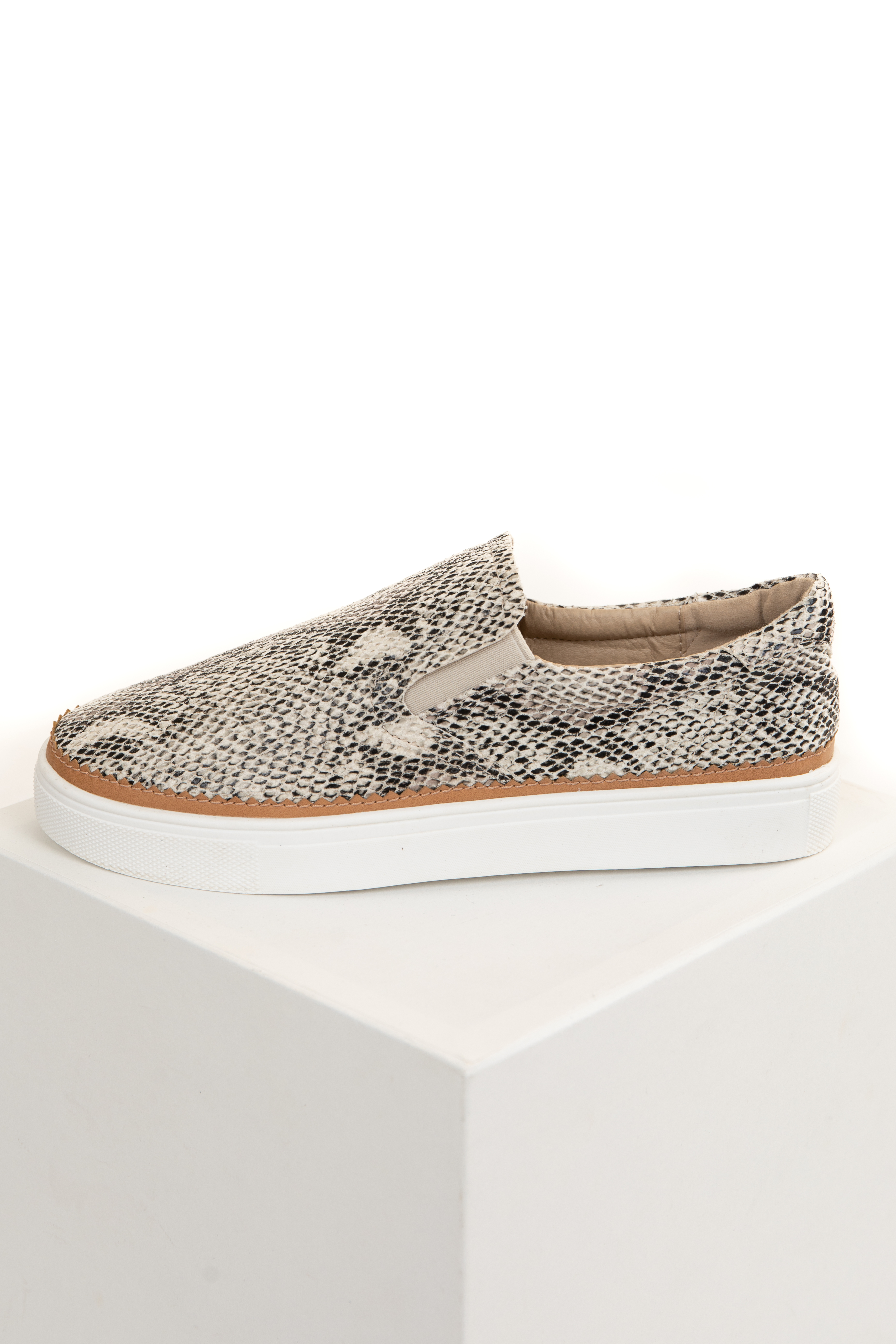 Beige Snakeskin Print Textured Slip On Sneakers