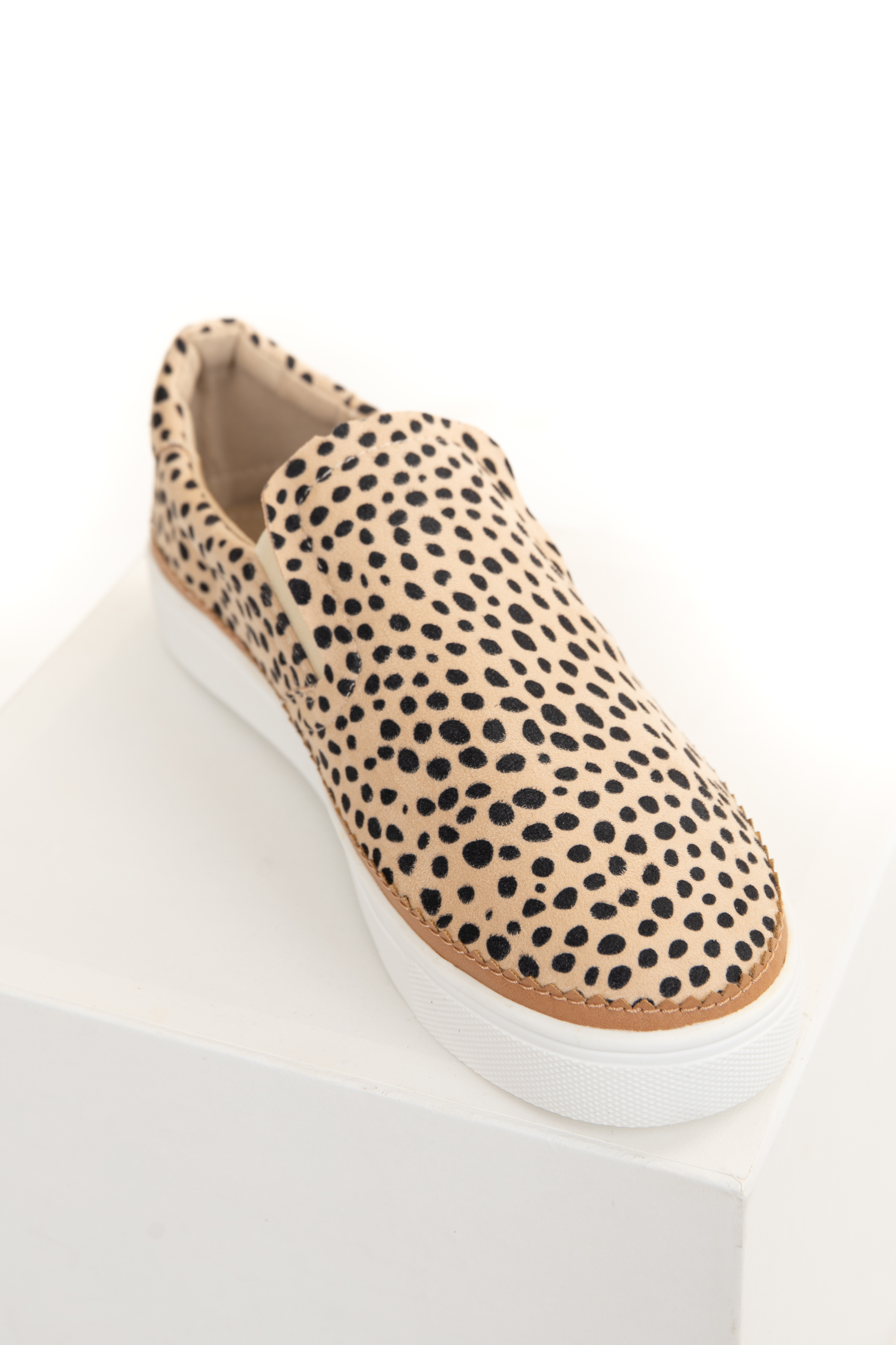 Beige Cheetah Print Textured Slip On Sneakers