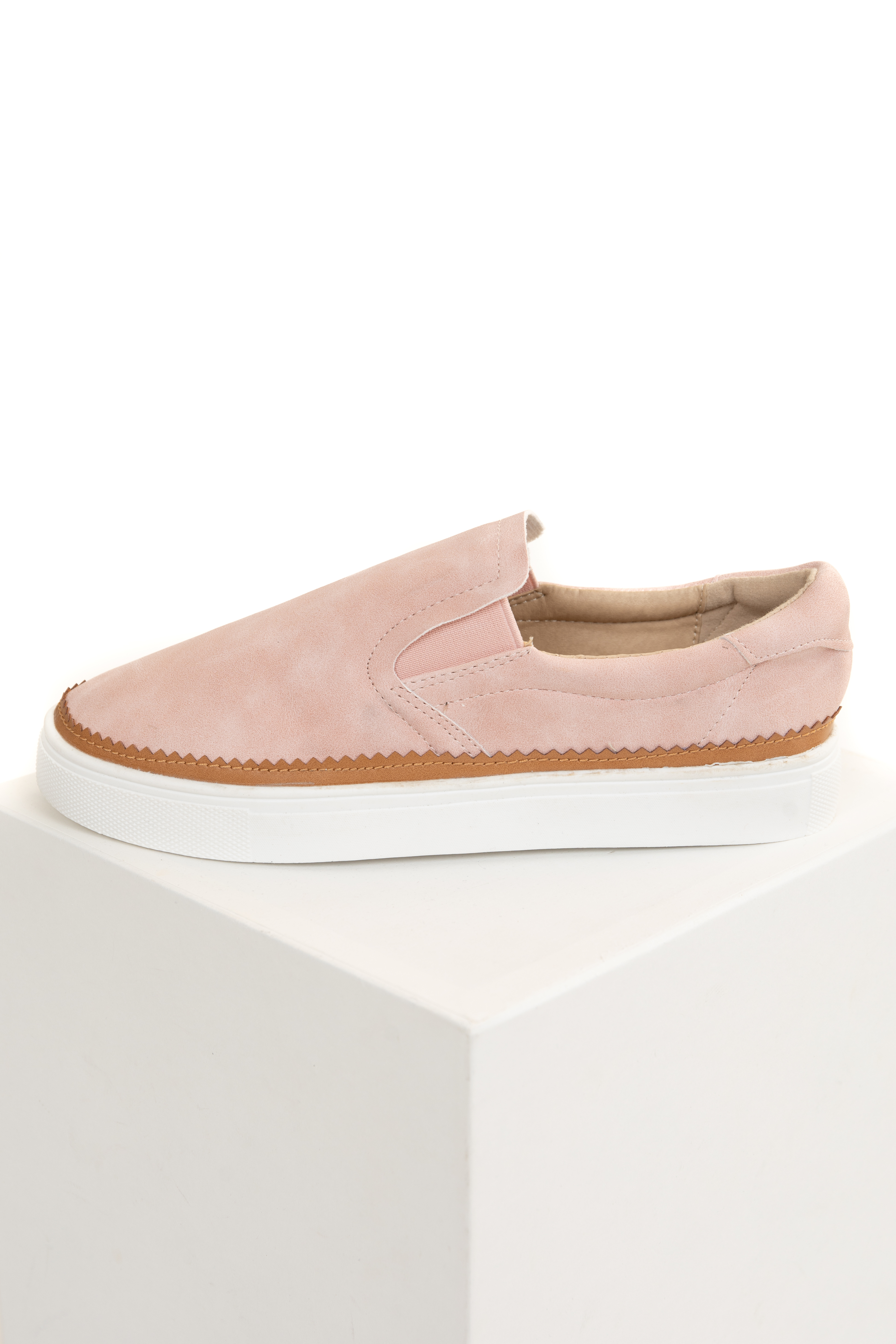 Blush Pink Faux Suede Textured Slip On Sneakers