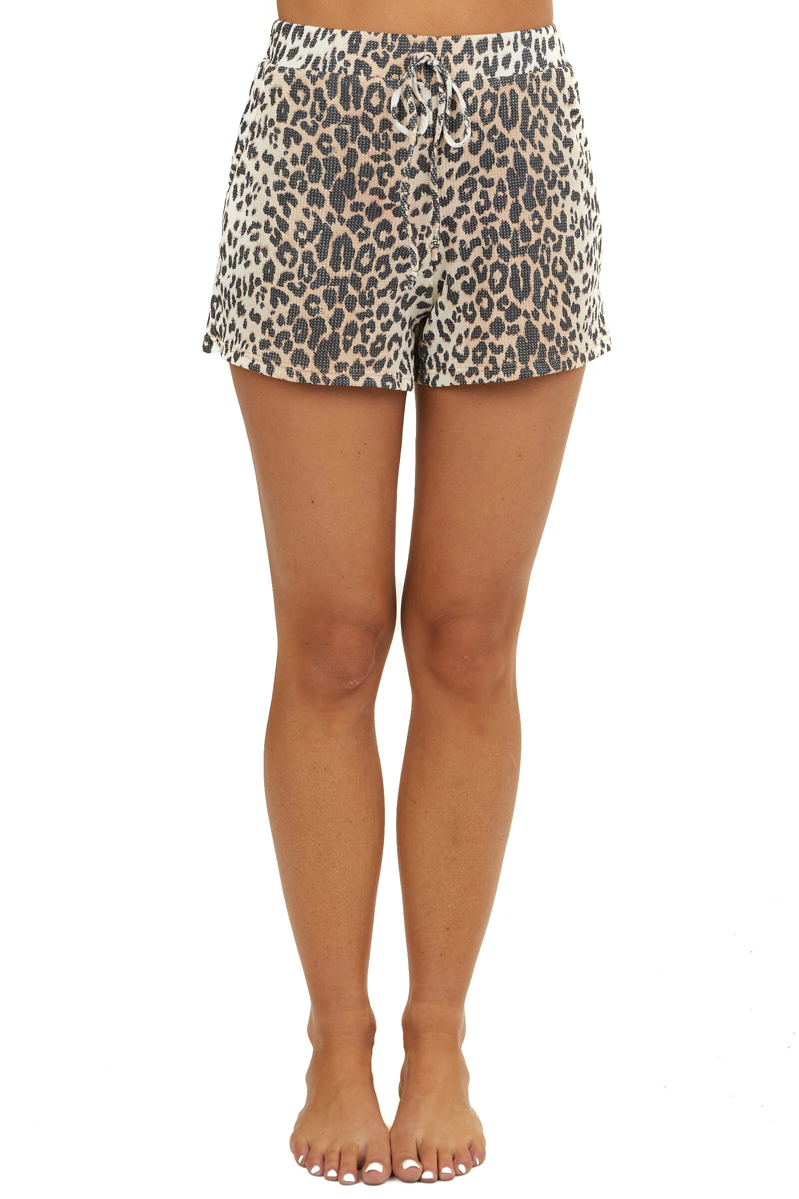 Beige Leopard Print Waffle Knit Shorts with Drawstrings