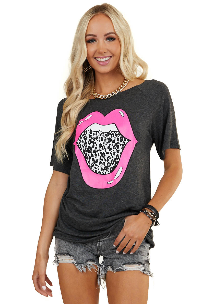 Charcoal Short Sleeve Top with Leopard Lip Graphic