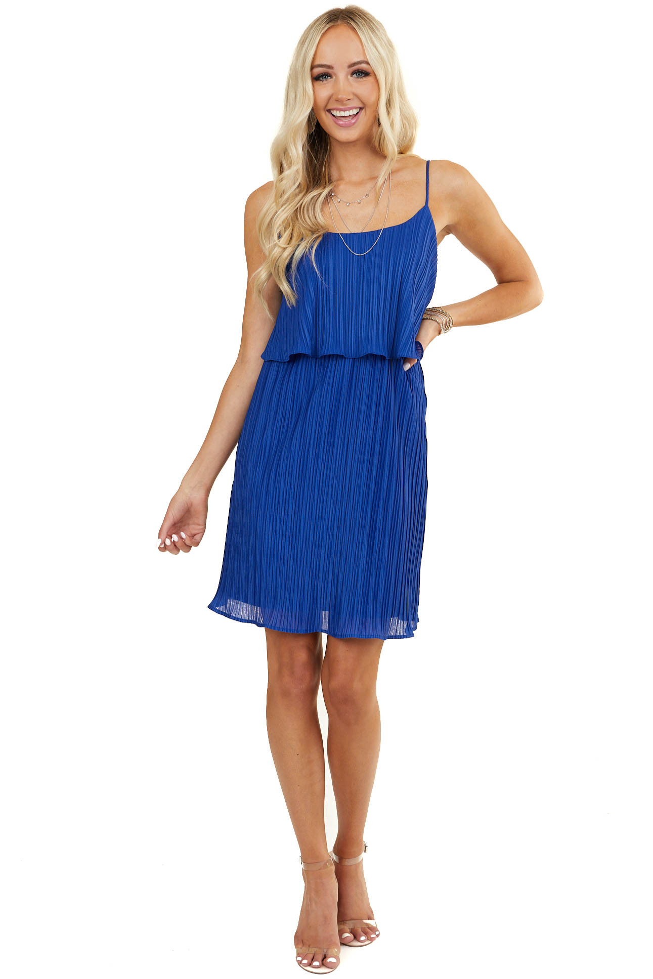 Royal Blue Sleeveless Textured Dress with Overlay Detail