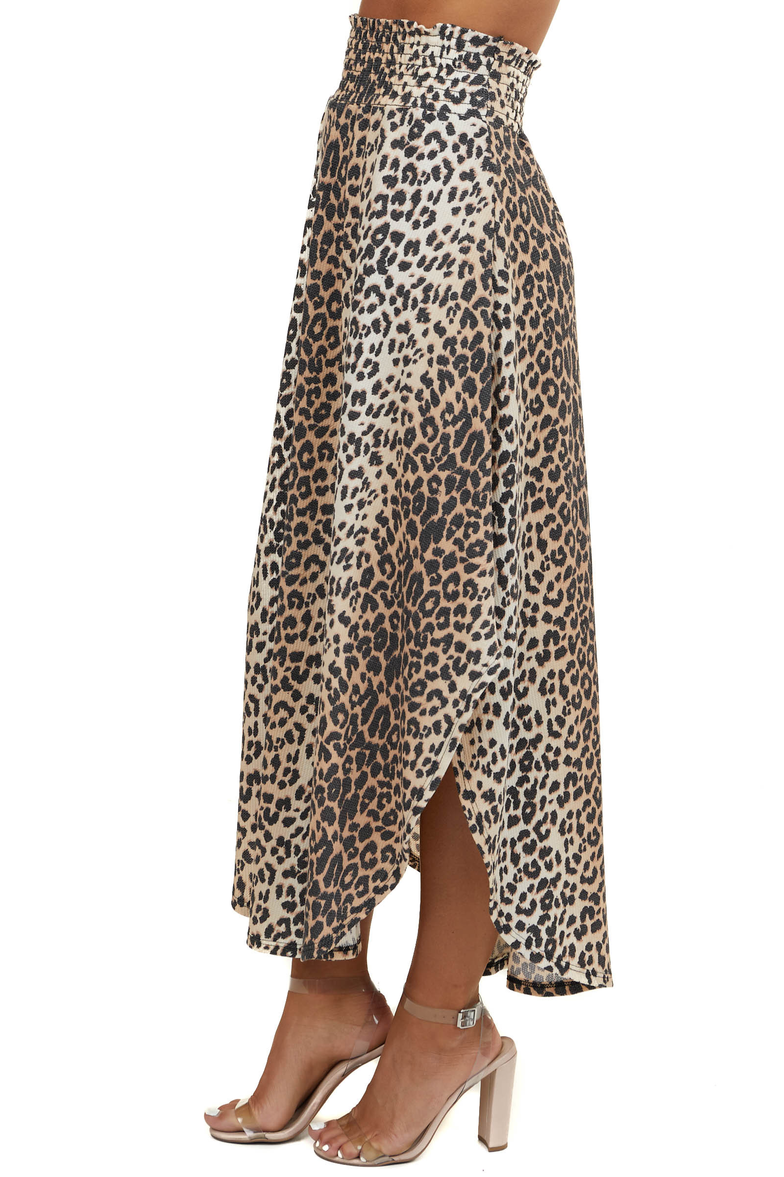Beige Leopard Print Waffle Knit Maxi Skirt with Side Slits