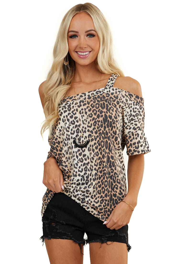 Beige Leopard Print Waffle Knit Top with One Cold Shoulder
