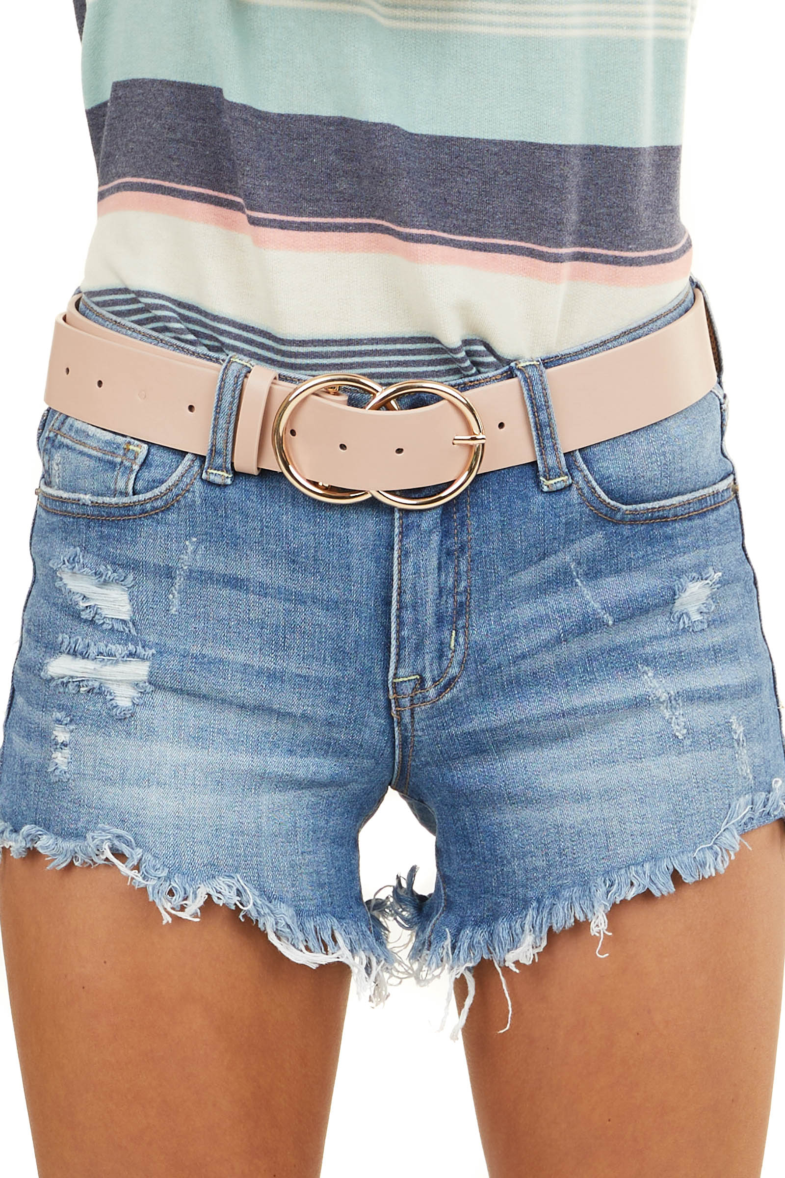 Blush Faux Leather Belt with Gold Double Ring Buckle