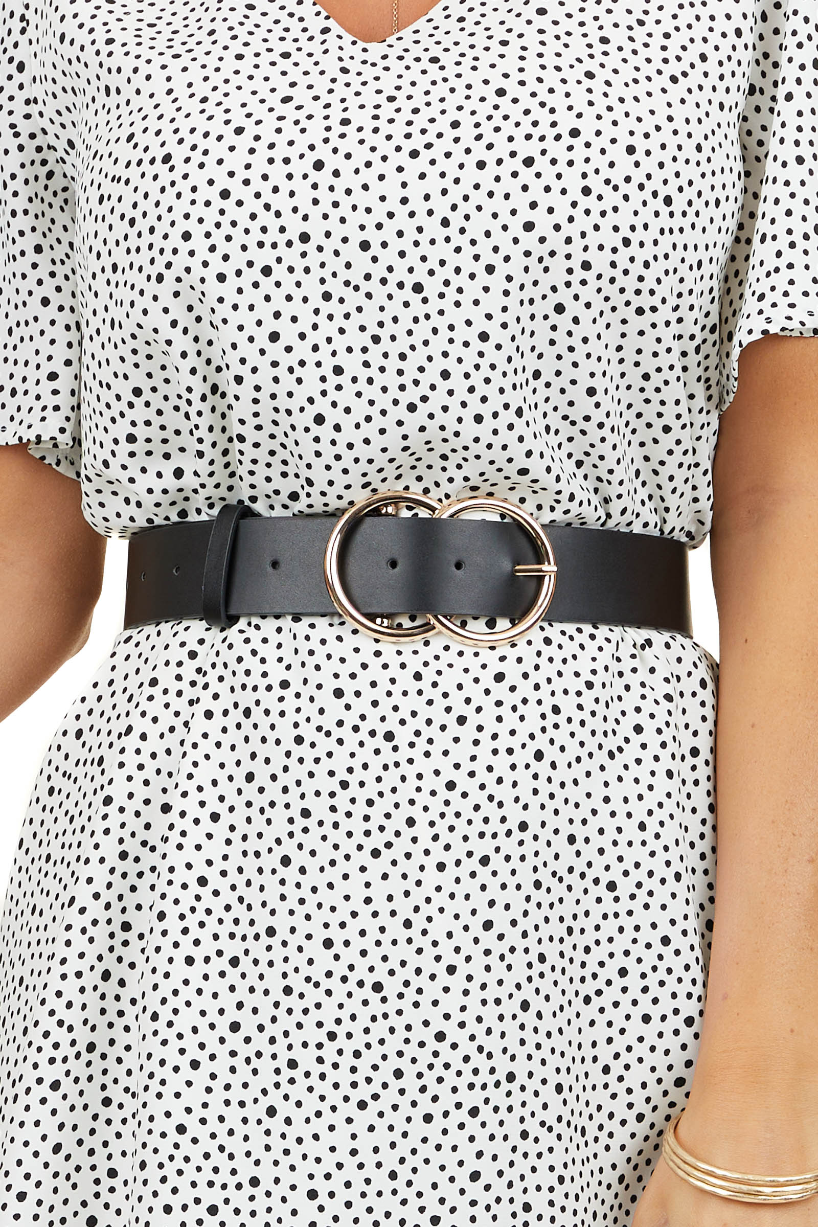 Black Faux Leather Belt with Gold Double Ring Buckle