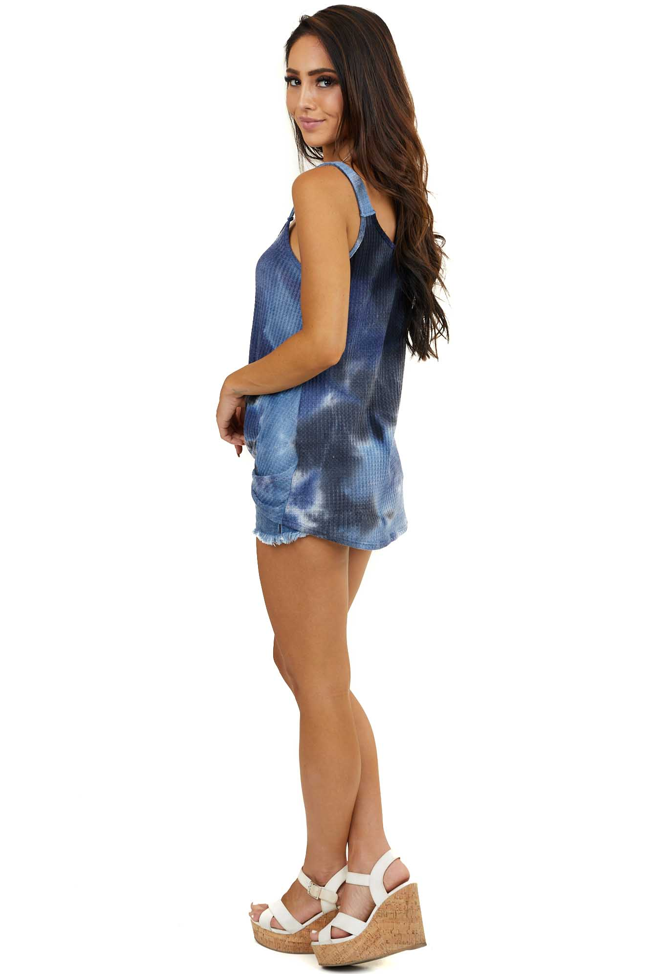 Navy and White Tie Dye Waffle Knit Tank Top with Front Twist