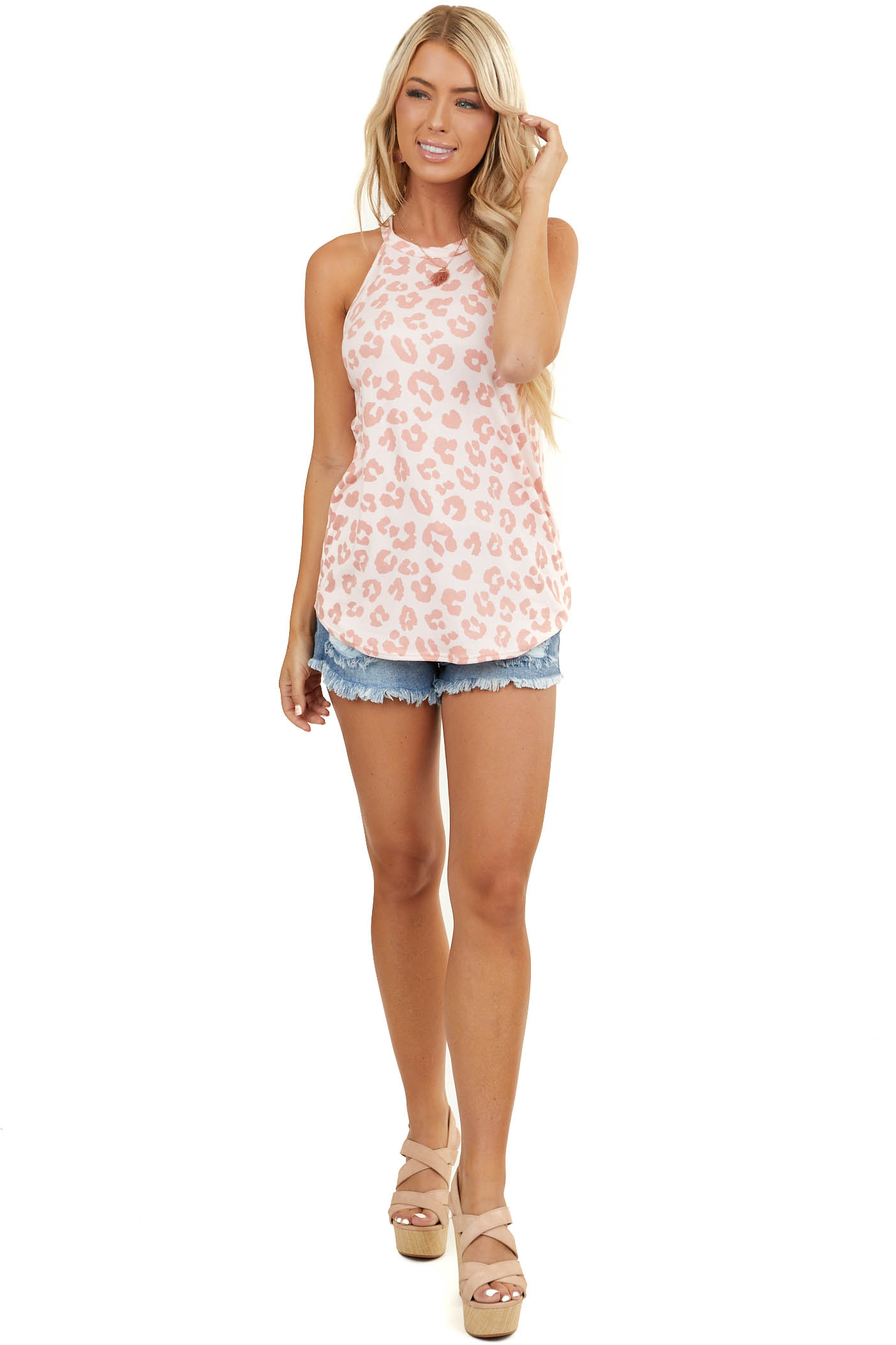 Pale Pink Leopard Super Soft Tank Top with High Neckline