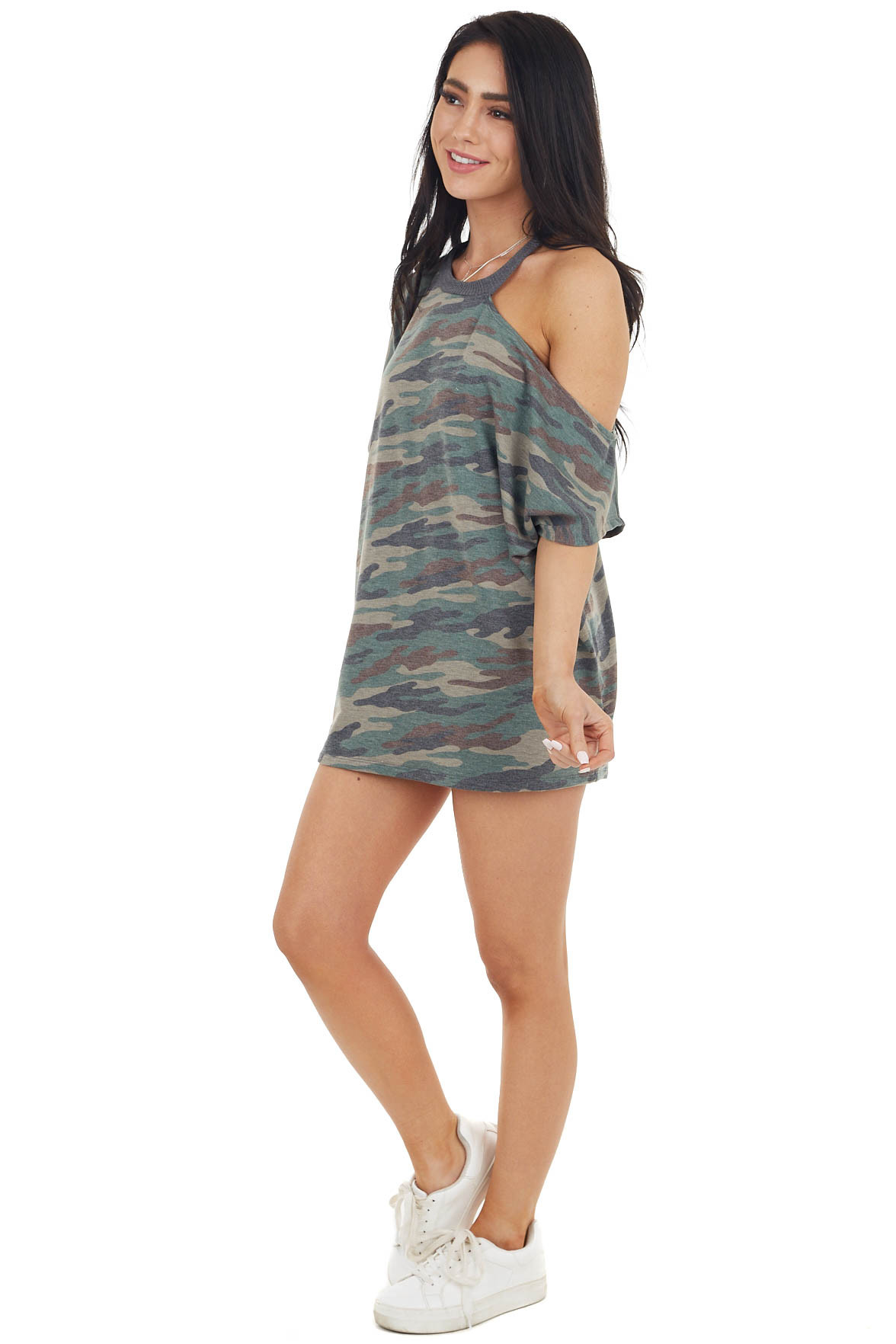 Faded Sage Camo One Cold Shoulder Short Sleeve Top