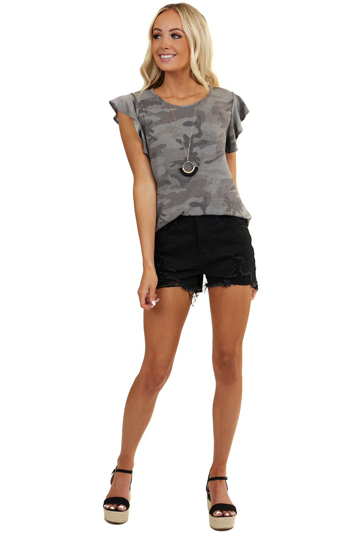 Ash Grey Camo Print Knit Top with Short Ruffled Sleeves