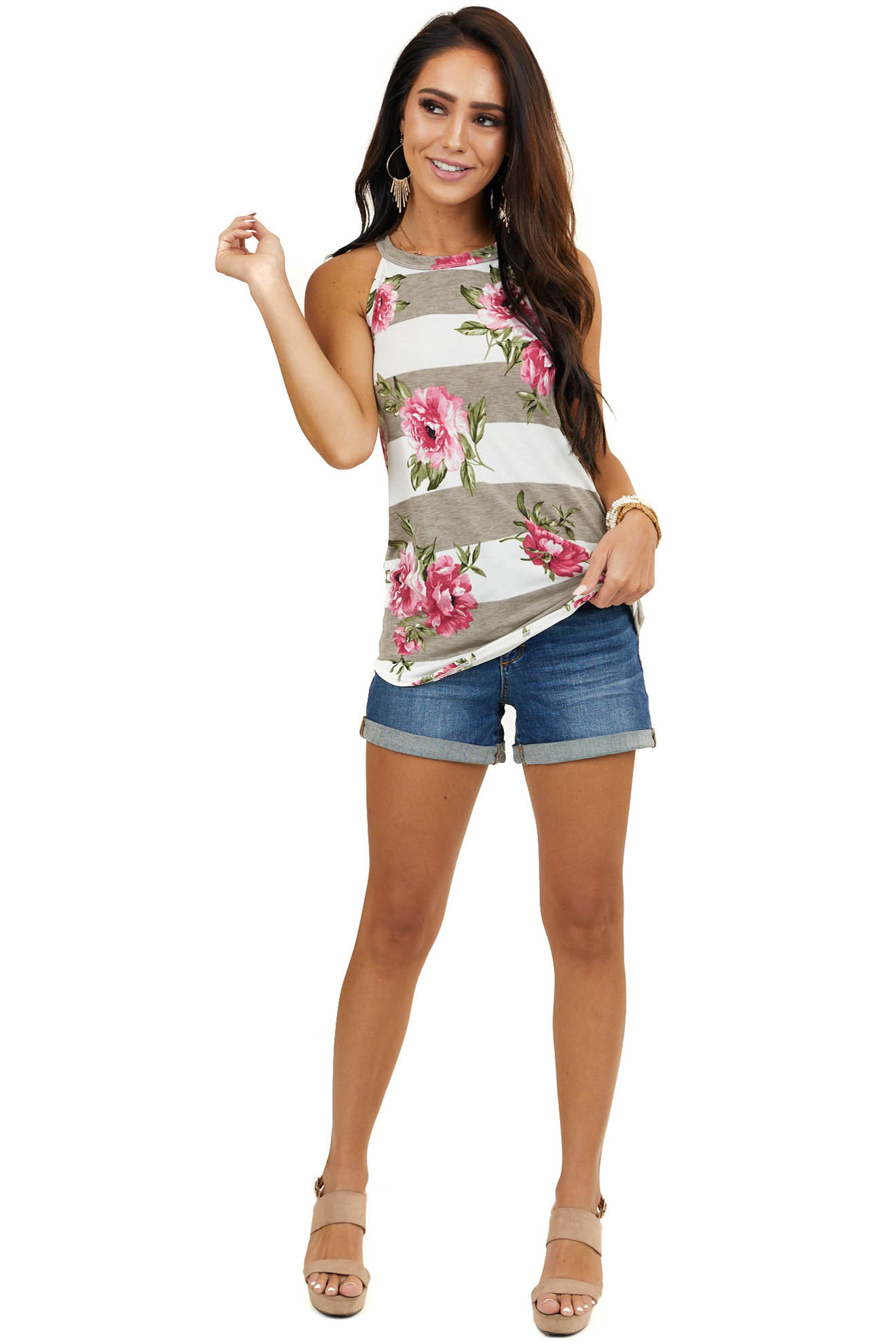 Off White Striped Top with Floral Print and High Neckline