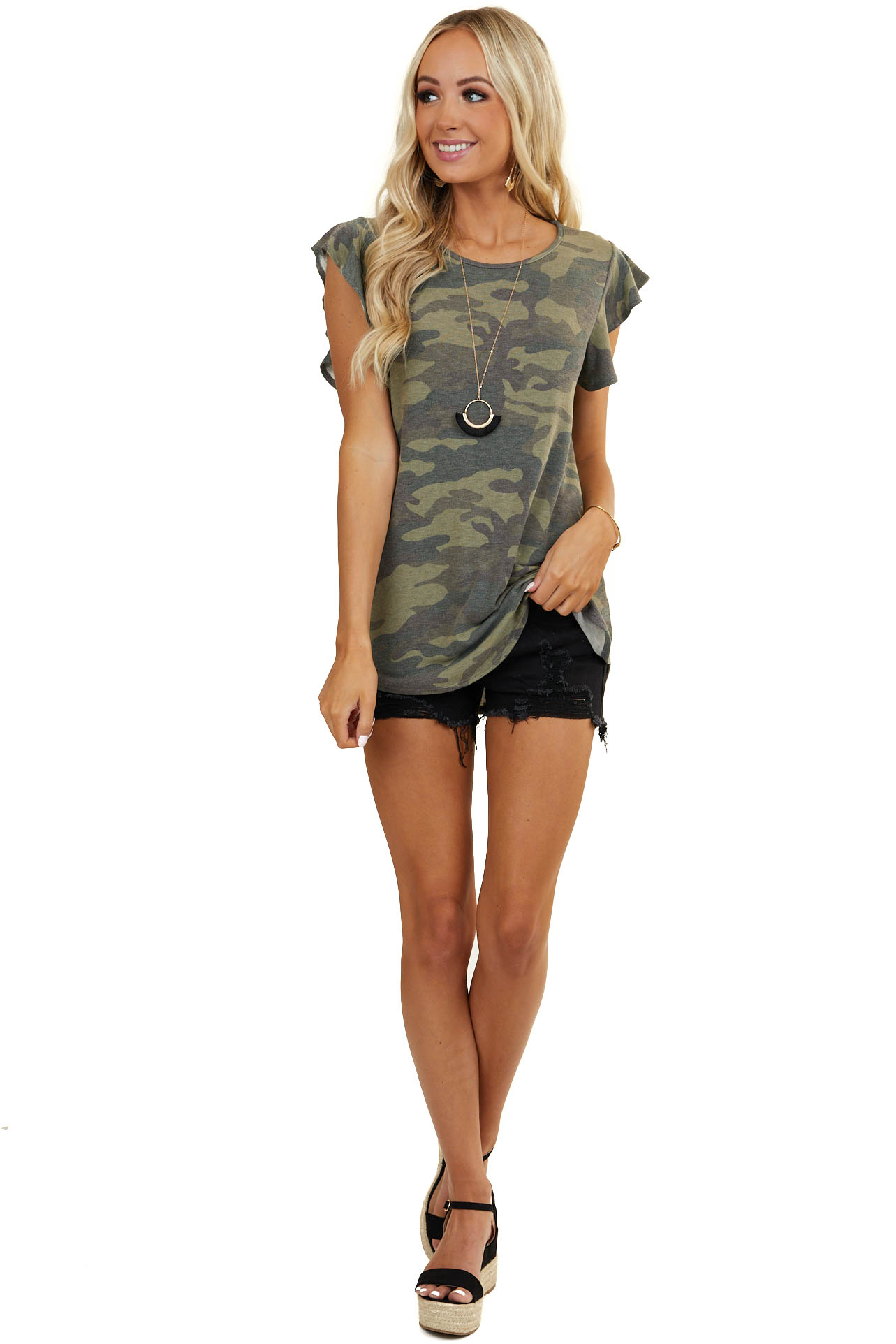 Olive Green Camo Print Knit Top with Short Ruffled Sleeves