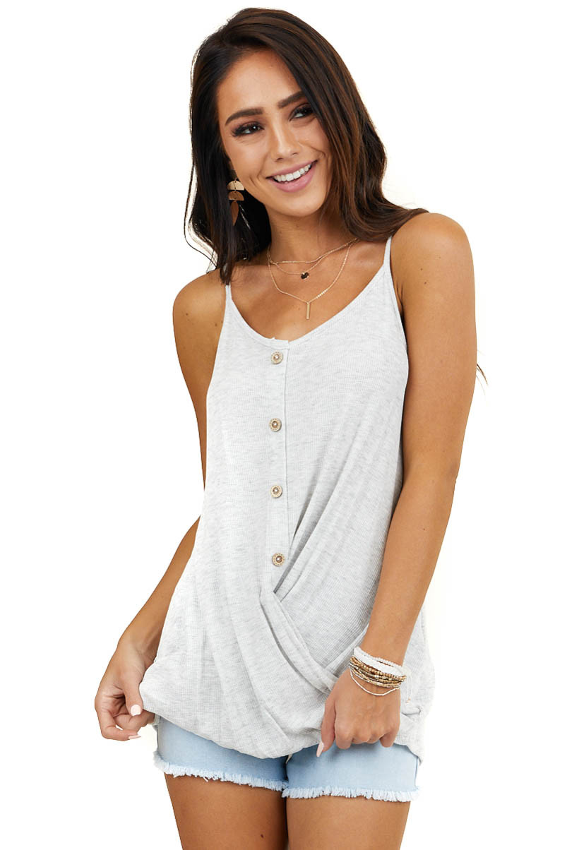 Heather Grey Waffle Knit Tank Top with Twisted Front Detail