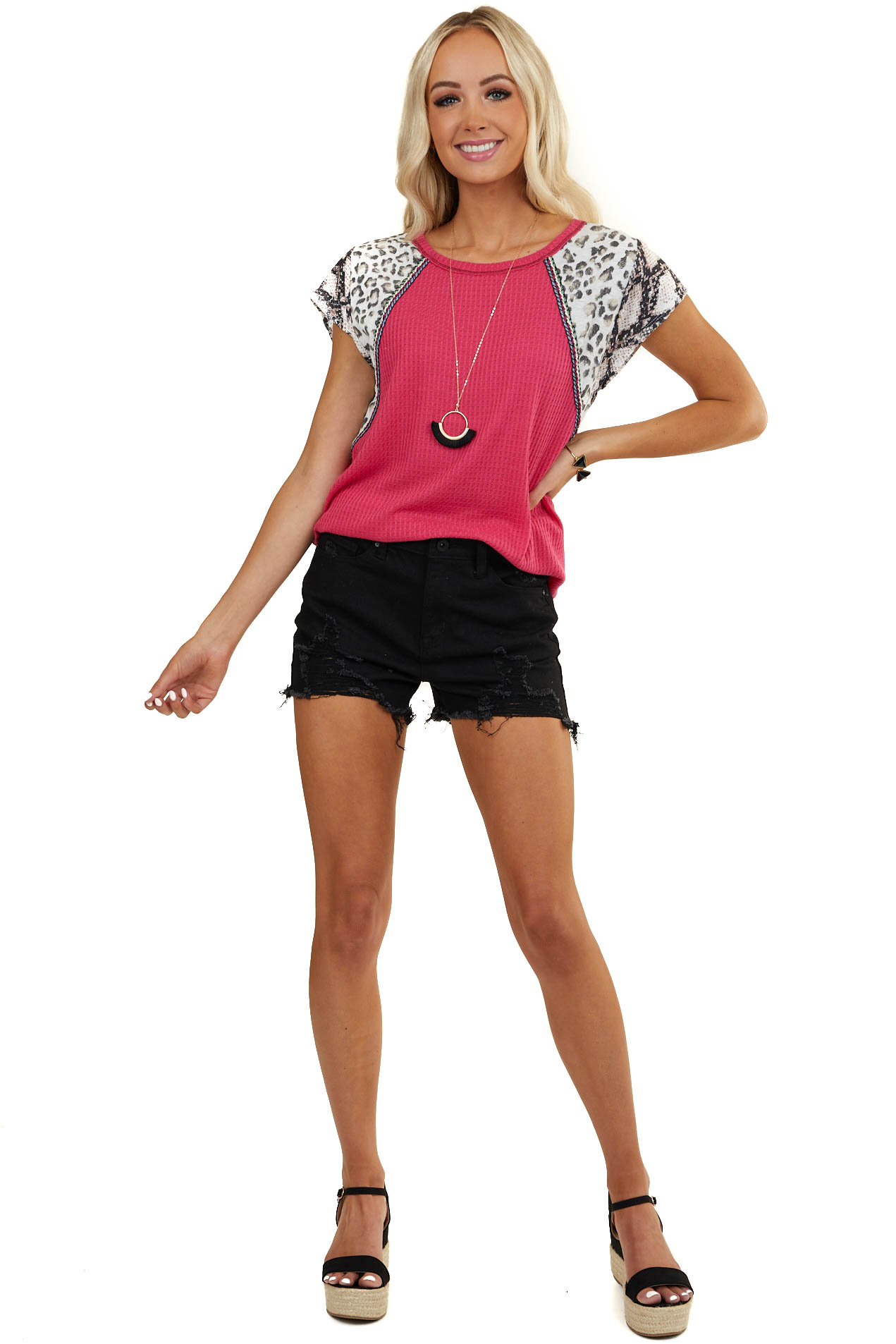 Fuchsia Knit Top with Multiprint Sleeves and Embroidery