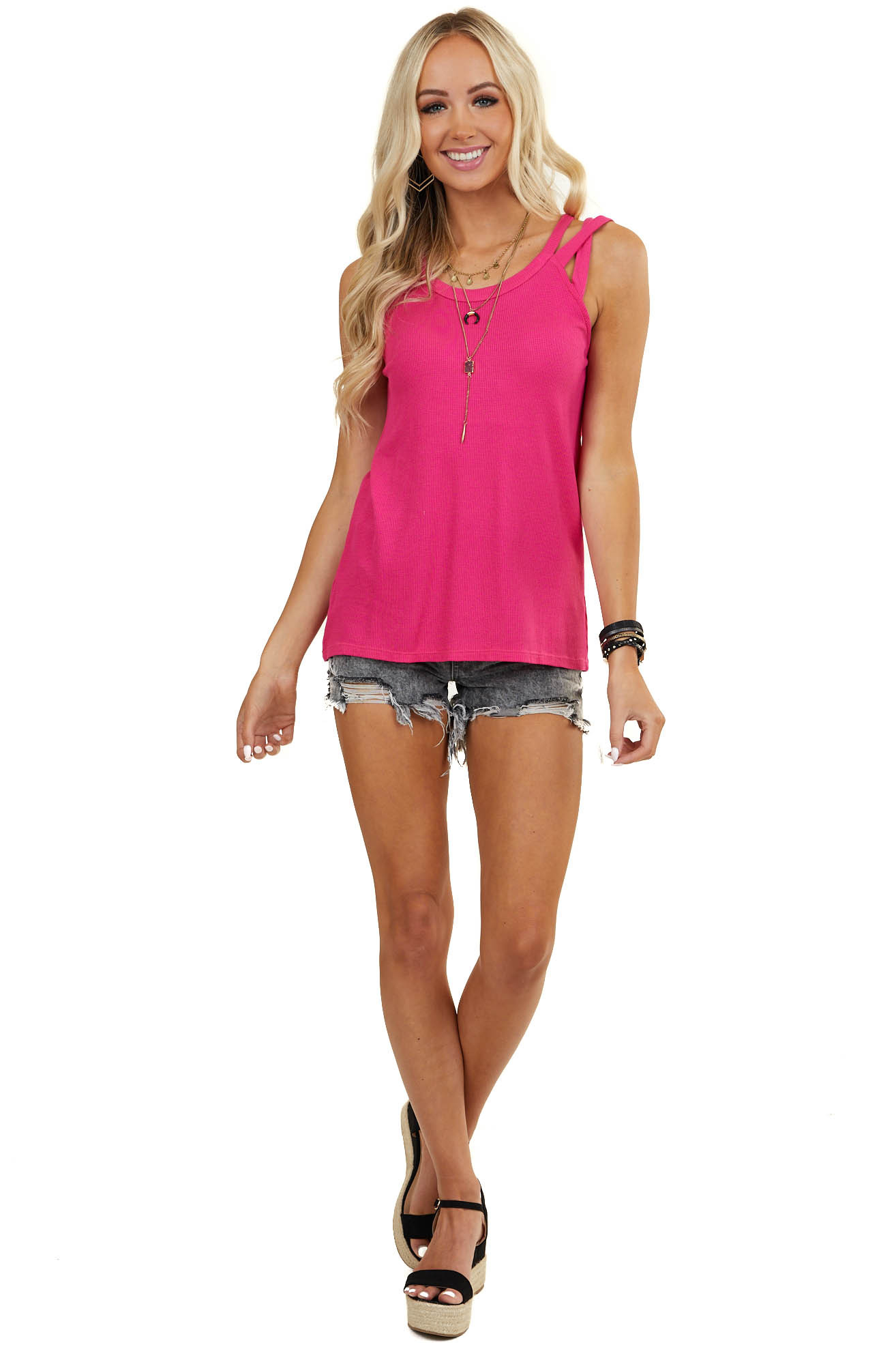 Fuchsia Waffle Knit Tank Top with Criss Cross Straps