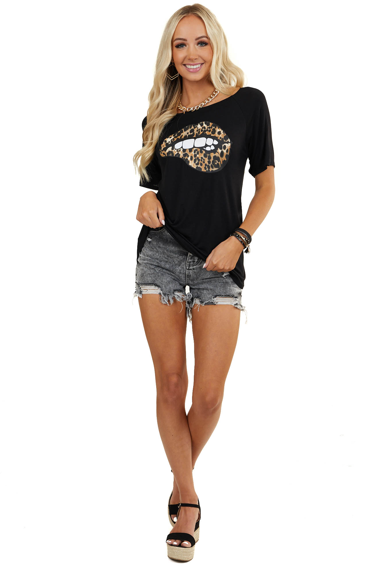 Black Short Sleeve Top with Leopard Print Lip Graphic