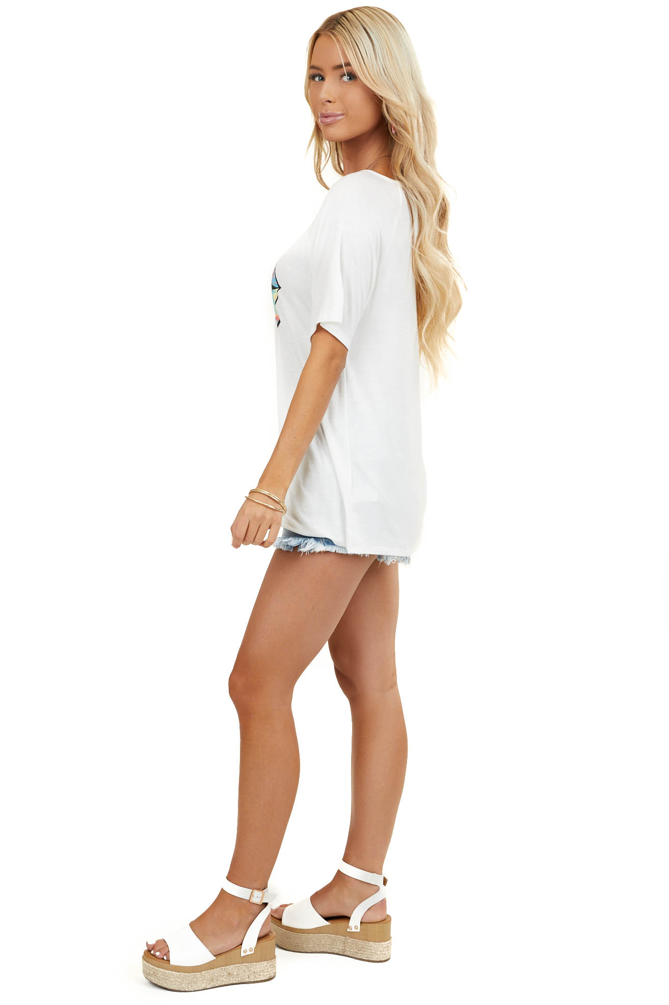 White Short Sleeve Top with Multicolor Tie Dye Lip Graphic