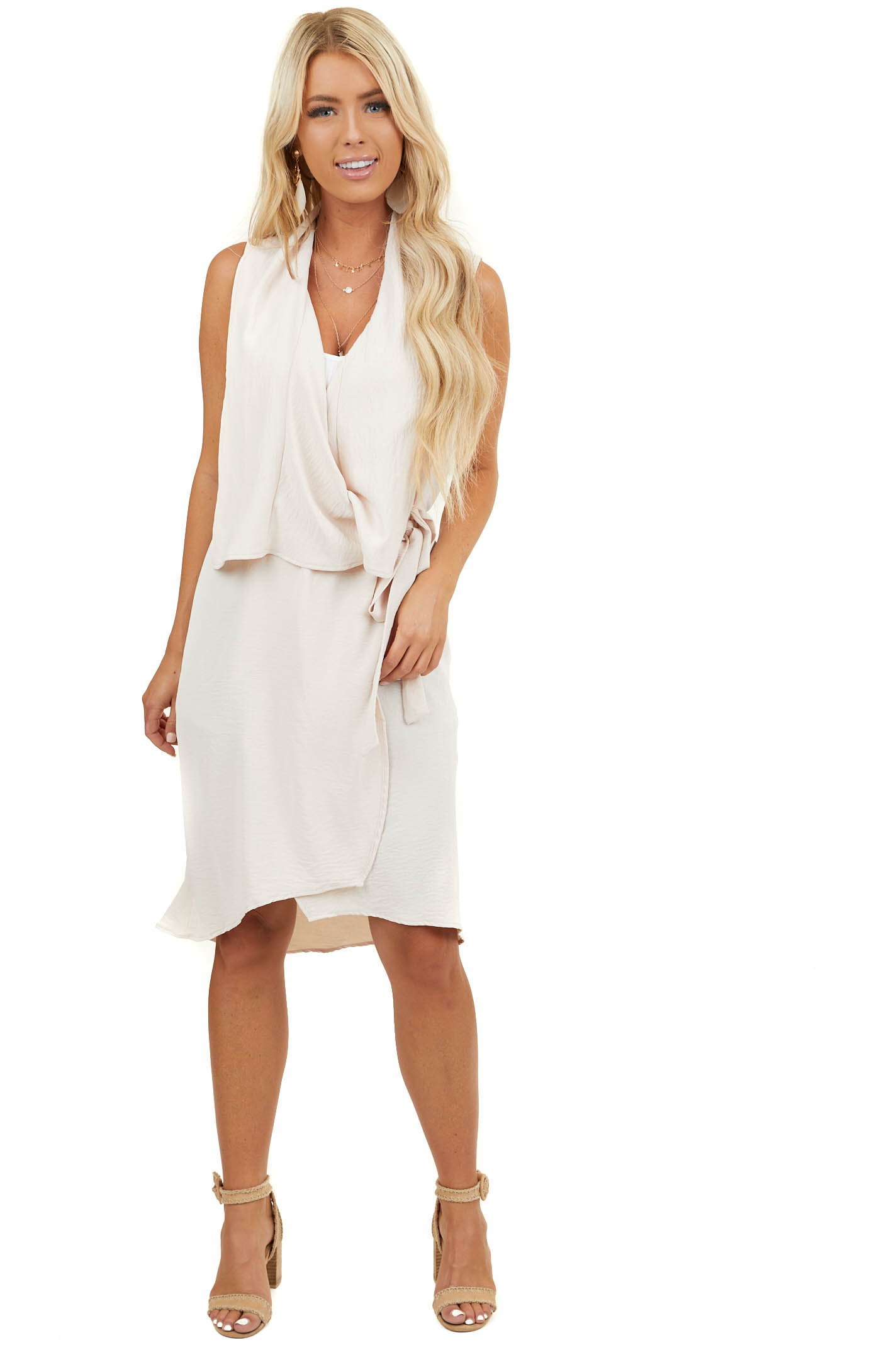 Natural Draped Duster Vest with Tie Detail
