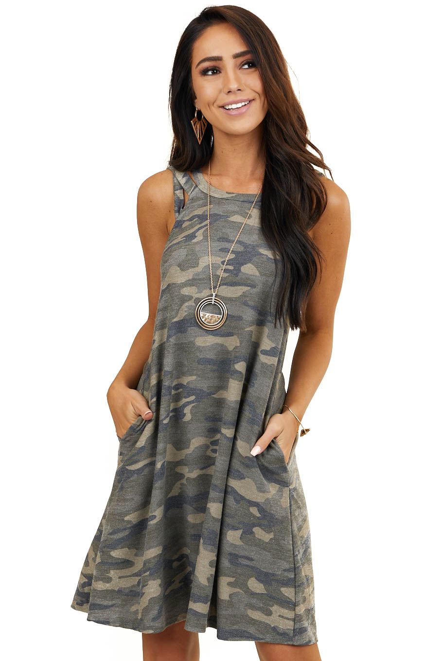 Olive Camo Short Dress with Side Pockets and Strappy Detail