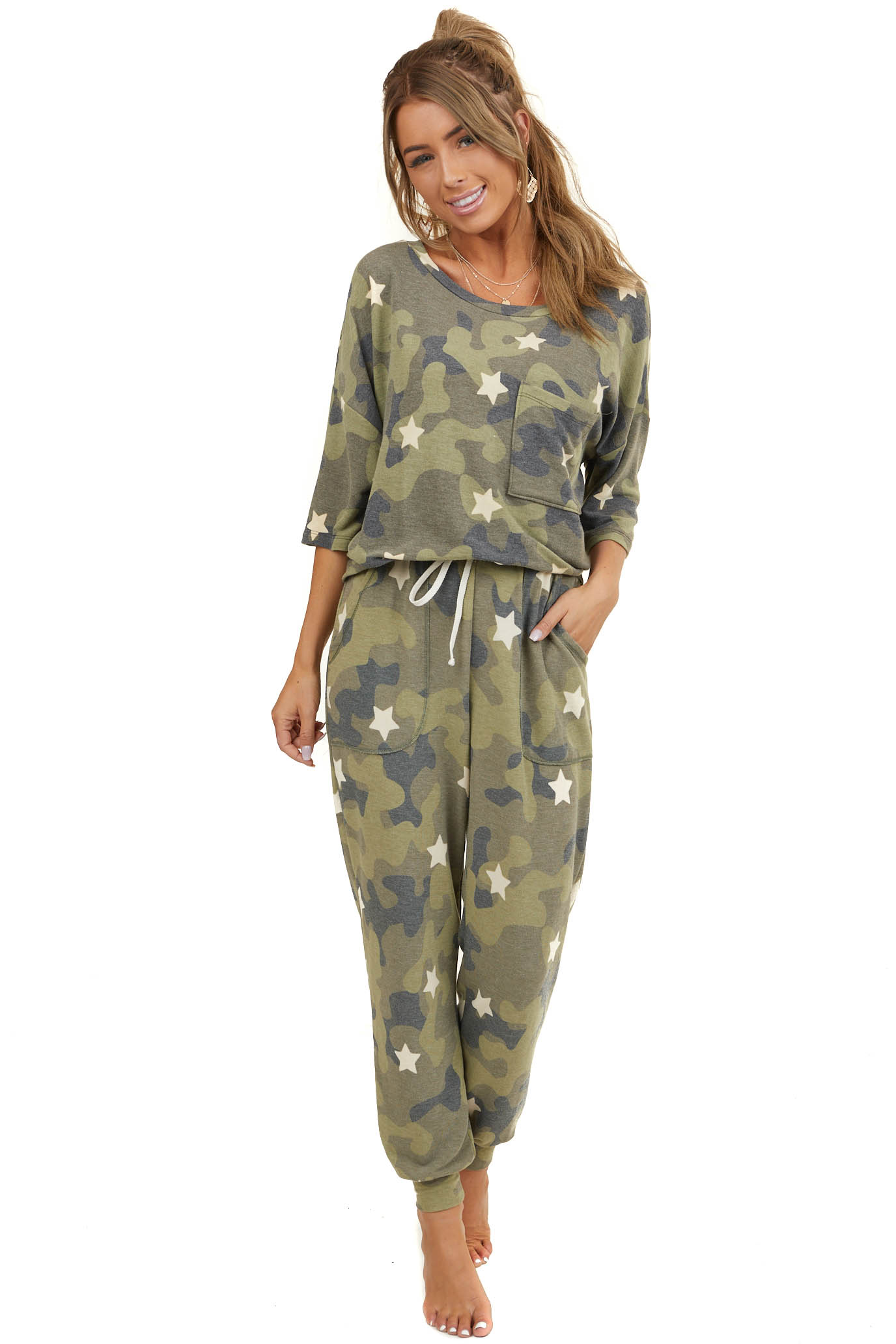 Olive Camo and Star Print Loungewear Joggers with Waist Tie