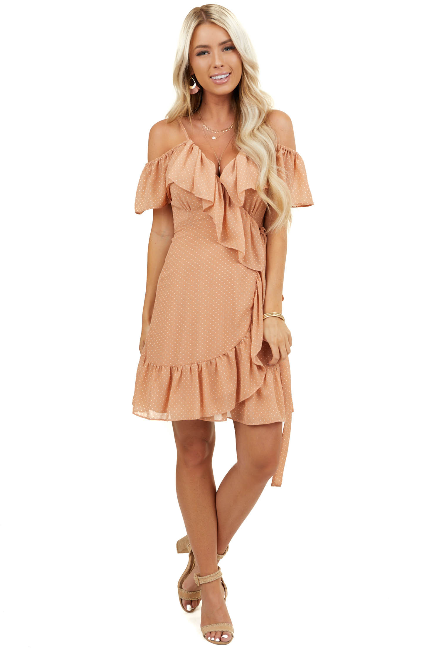 Dusty Peach Polka Dot Cold Shoulder Wrap Dress with Ruffles