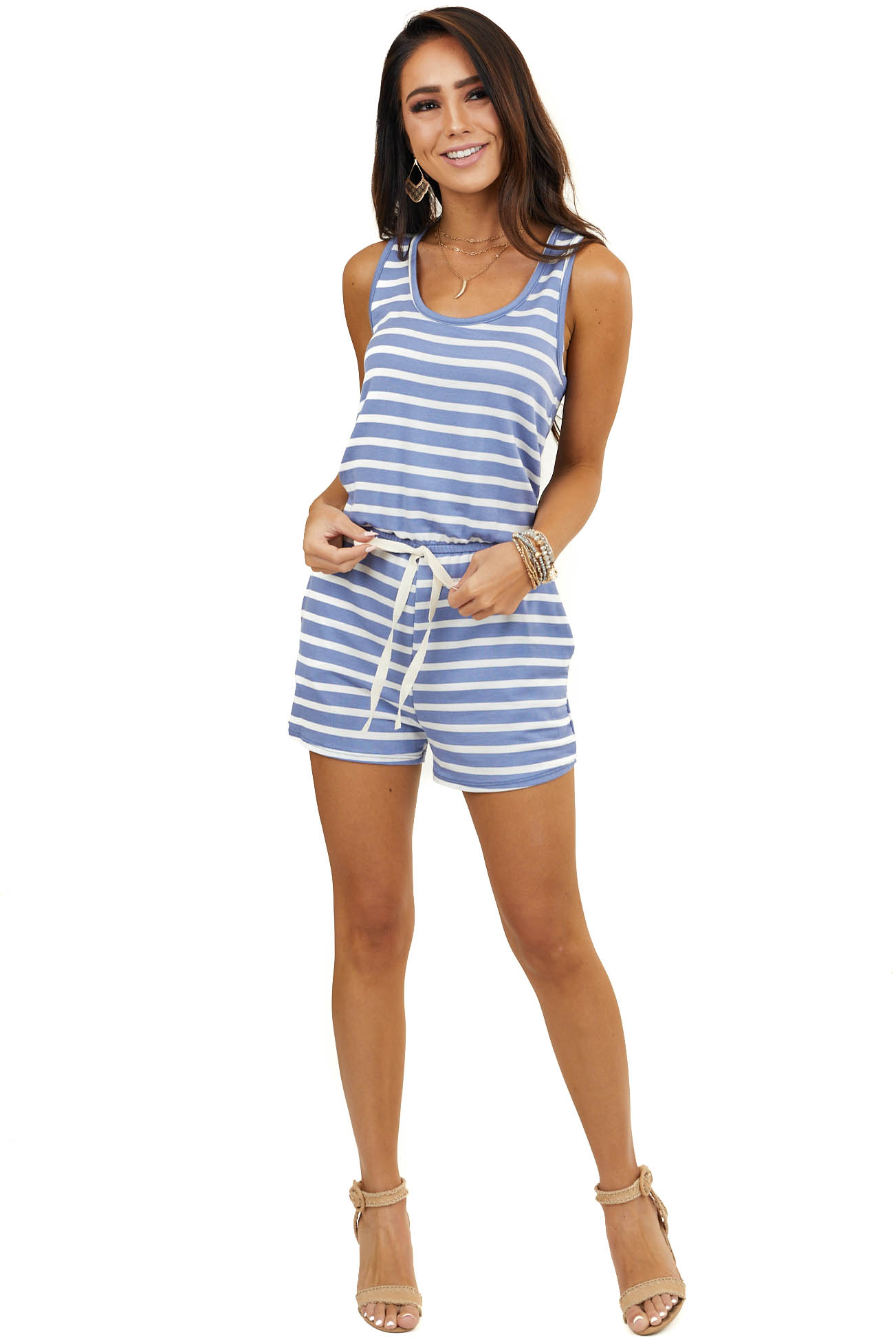 Cornflower and Off White Striped Sleeveless Romper with Tie