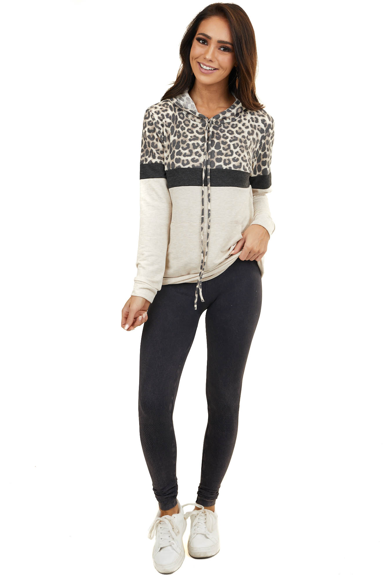 Tan Leopard Colorblock Hooded Sweatshirt with Front Pocket