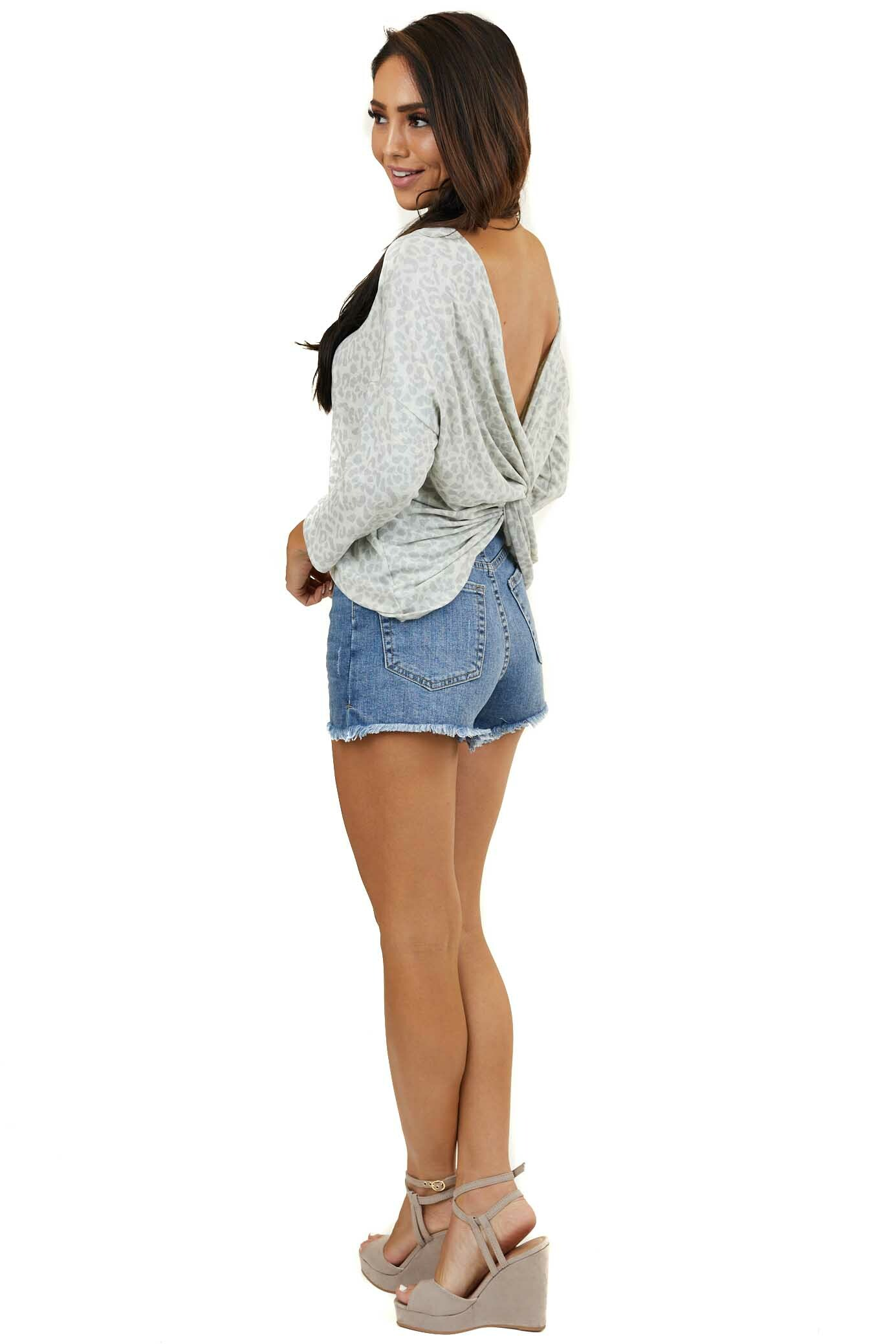 Dove Grey Leopard 3/4 Length Sleeve Top with Twisted Back