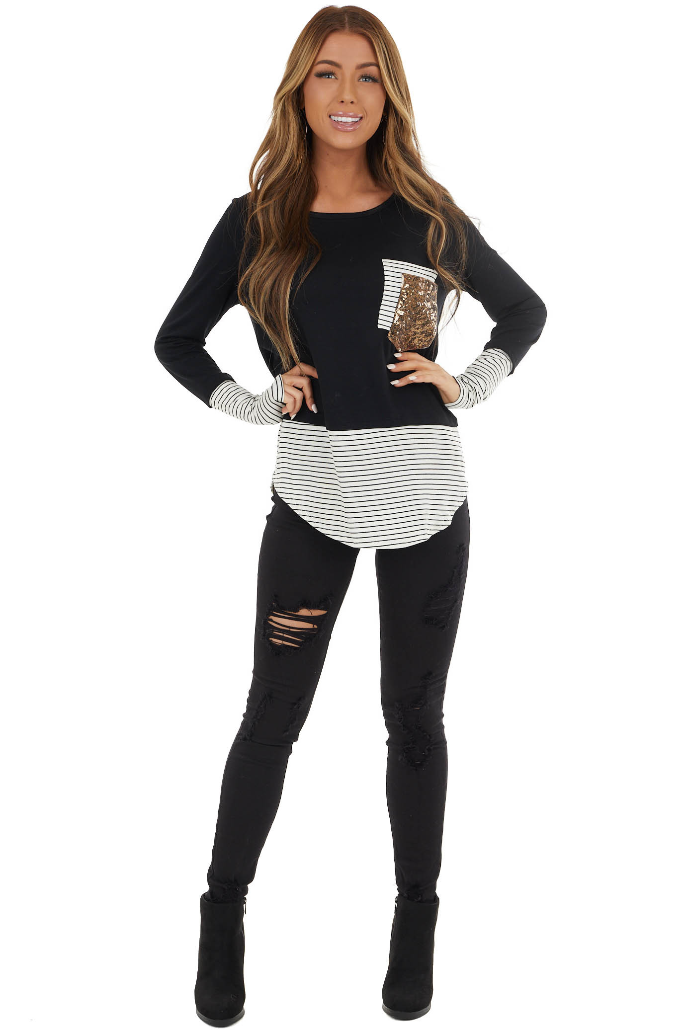 Black Long Sleeve Top with Striped Contrasts and Pockets