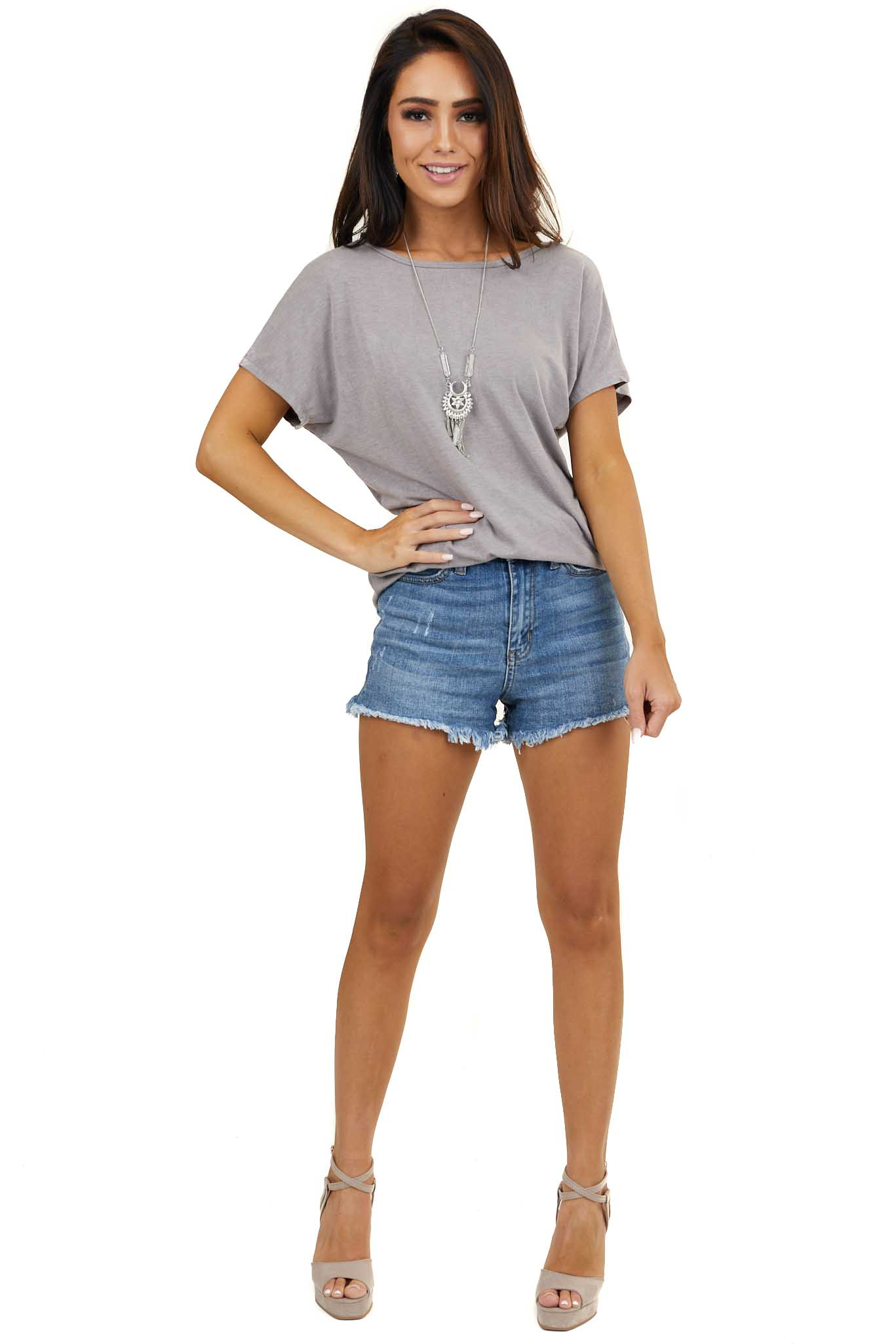 Taupe Short Sleeve Knit Top with Twisted Keyhole Back Detail