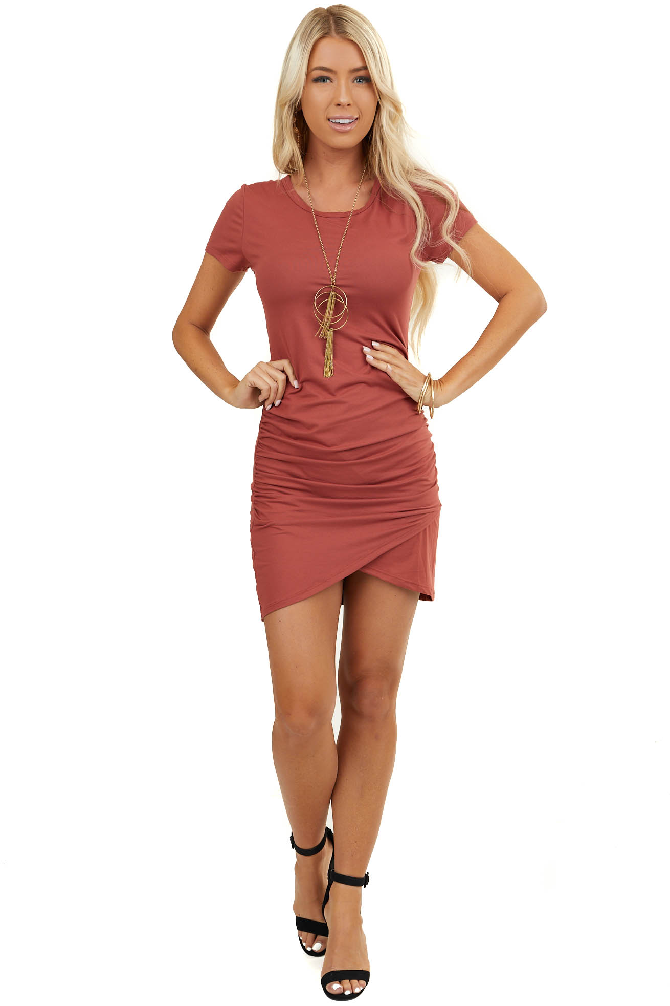 Brick Short Sleeve Knit Dress with Side Ruching Detail