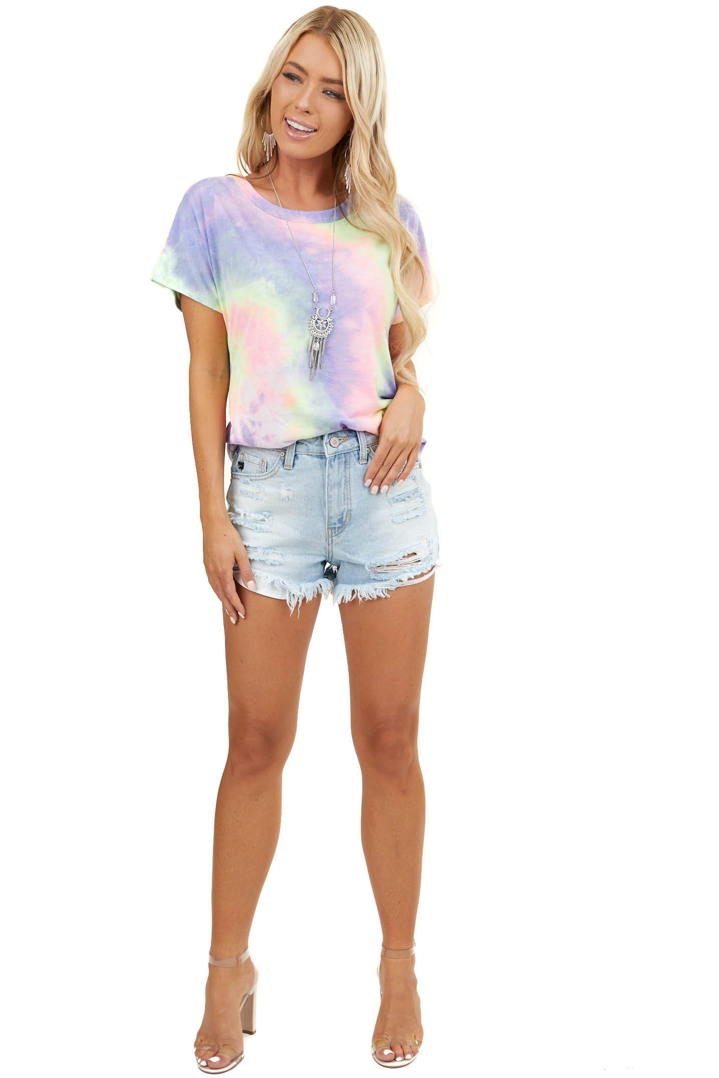 Multicolor Tie Dye Knit Top with Open Back Twisted Detail