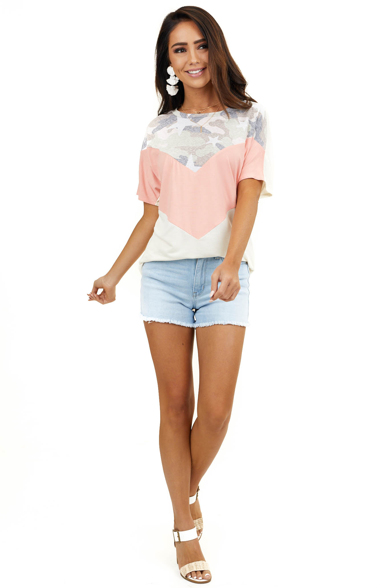 Cream and Peach Multiprint Colorblock Top with Short Sleeves