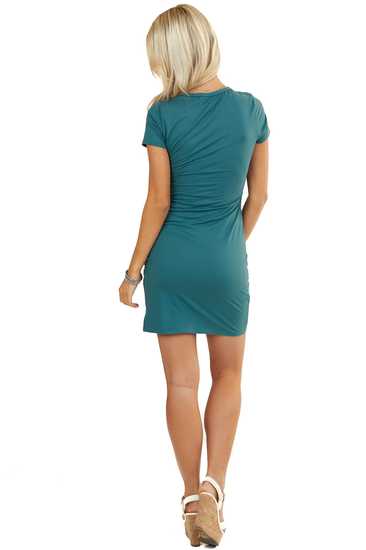 Hunter Green Short Sleeve Knit Dress with Side Ruching Detail