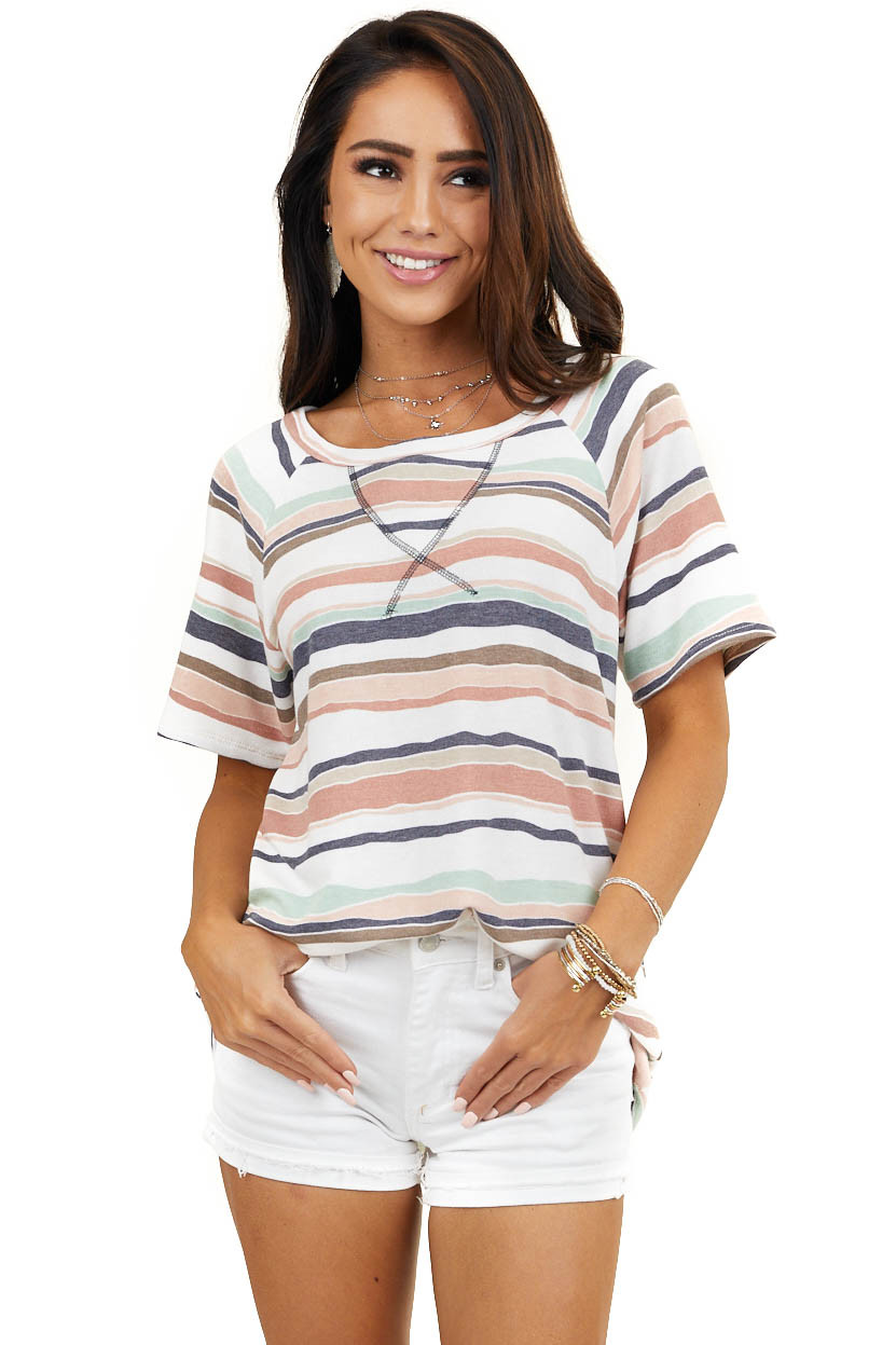 Ivory Multicolor Striped Knit Top with Stitching Contrast