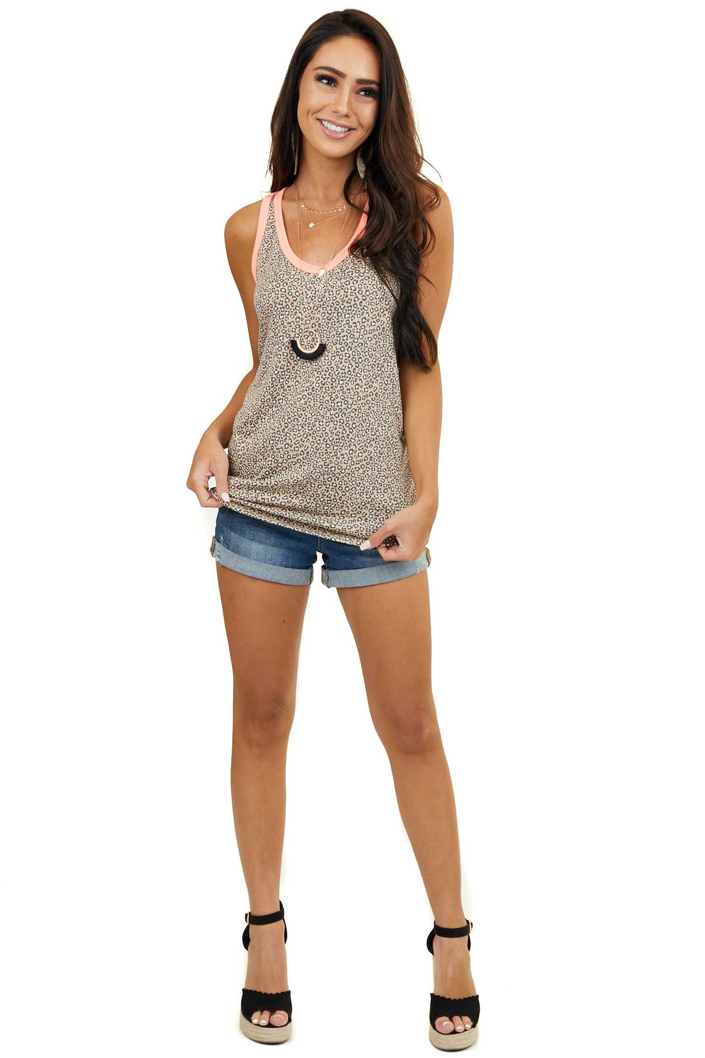 Desert Sand Leopard Tank Top with Neon Coral Trim Contrast