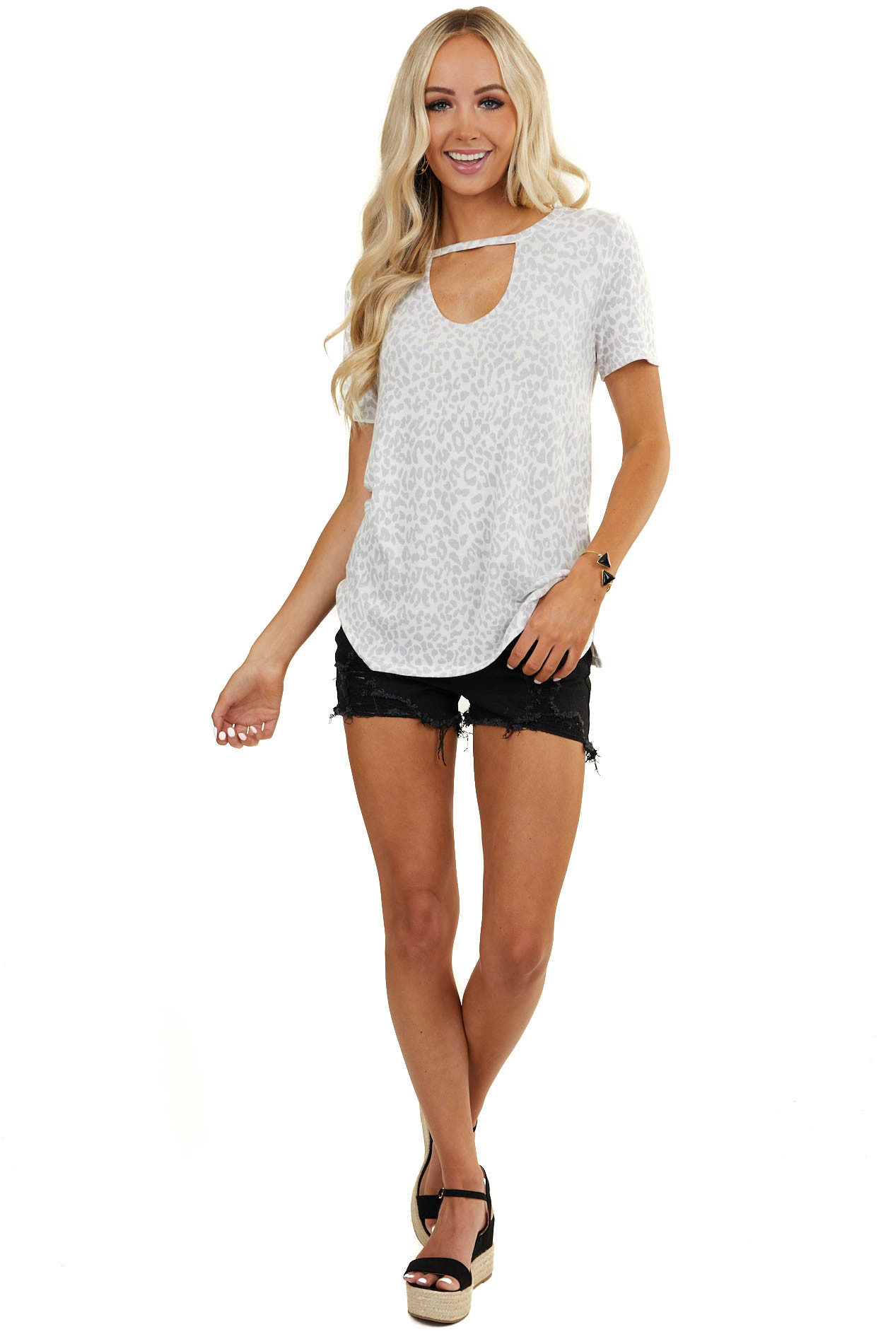 White and Dove Grey Leopard Print Top with Cutout Detail