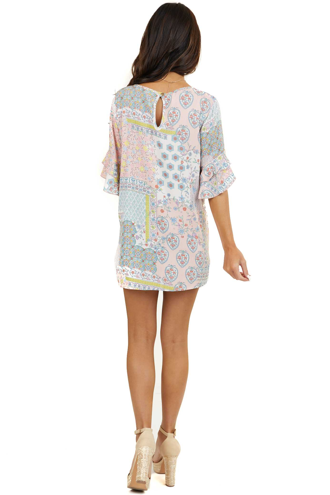 Pale Pink Floral Printed Woven Top with Short Ruffle Sleeves