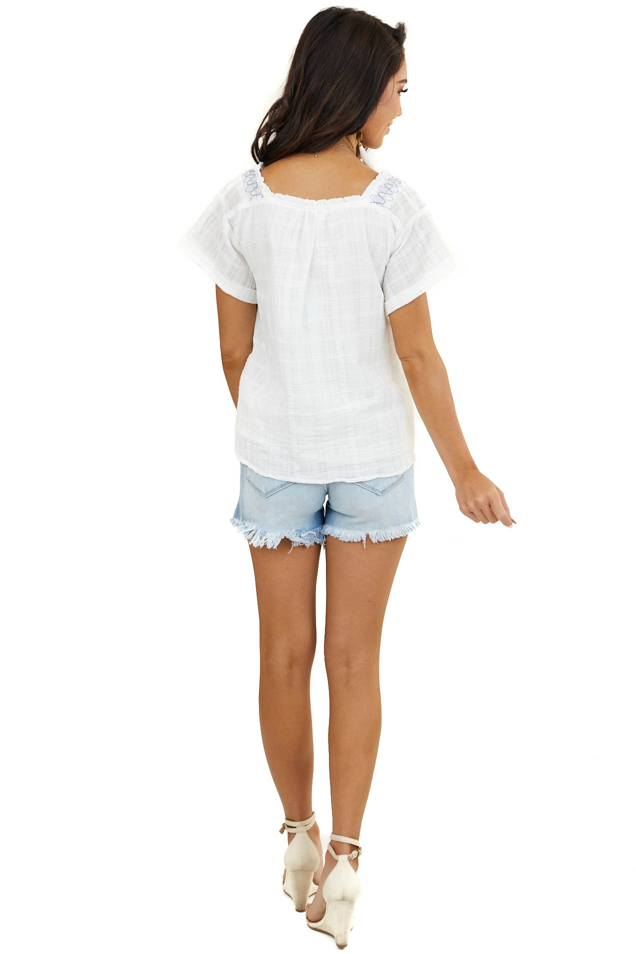 Ivory Smocked Top with Embroidery Detail