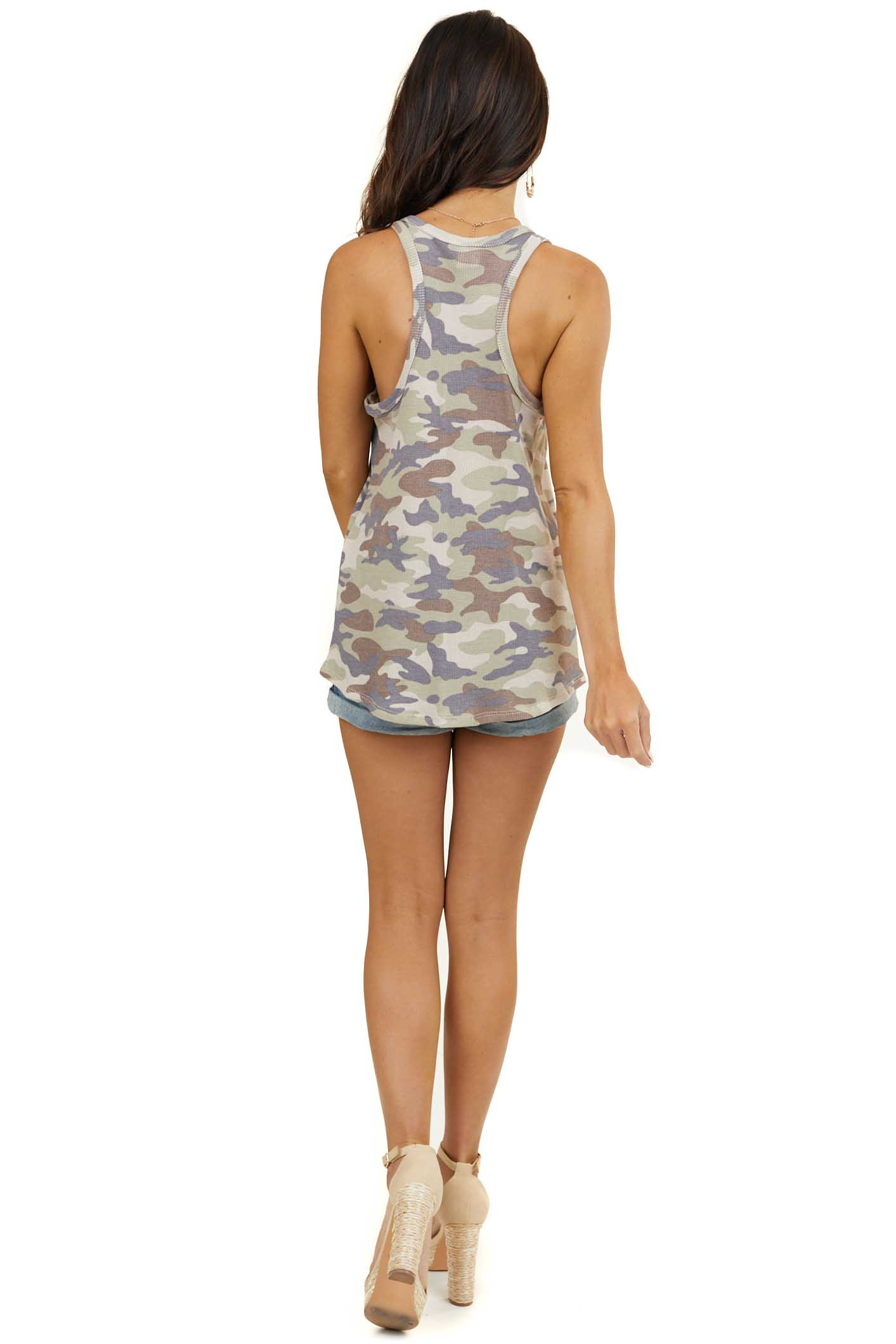 Sage Camo Waffle Knit Racerback Tank Top with Round V Neck