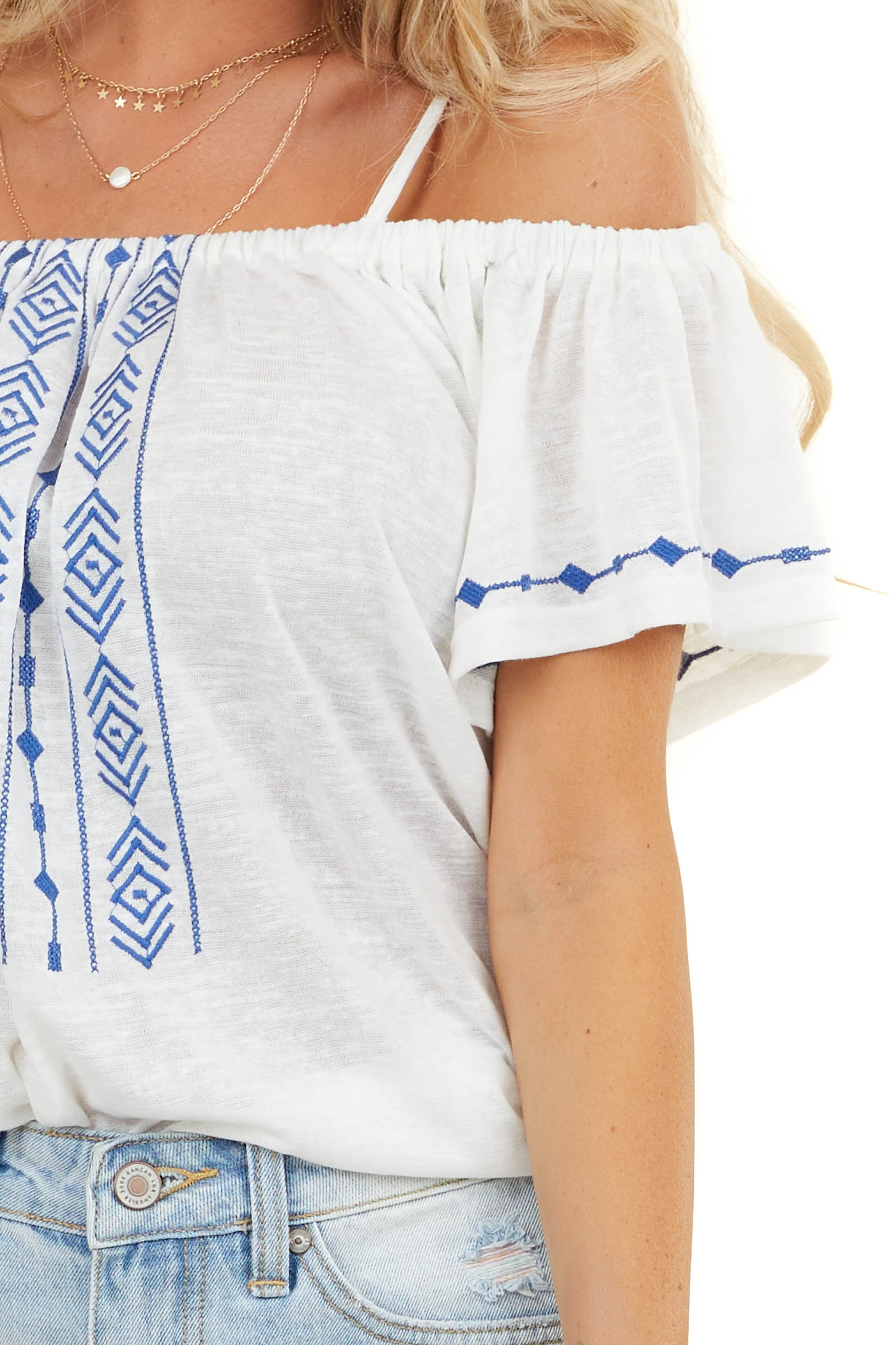 Off White Cold Shoulder Top with Blue Embroidery Detail
