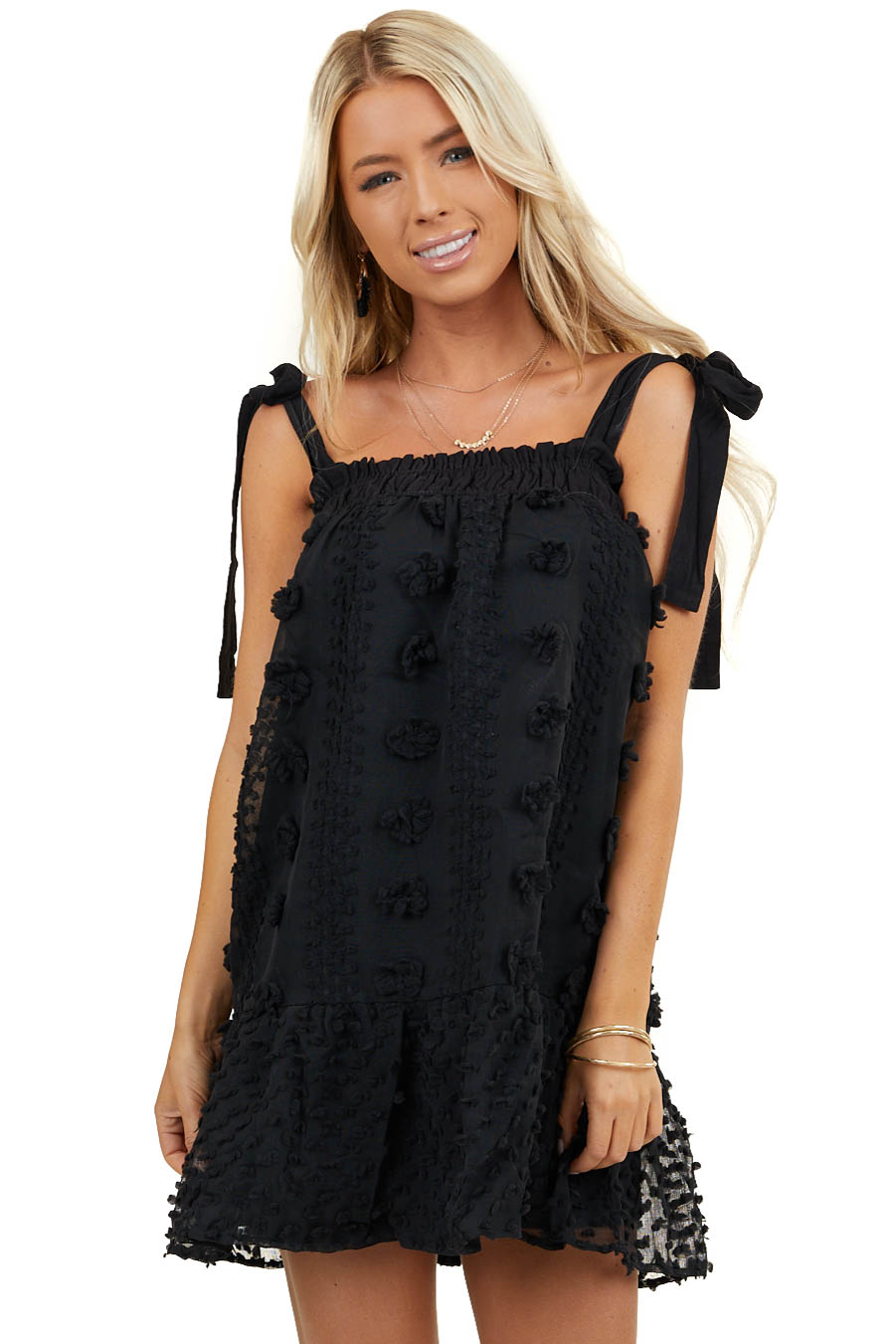 Black Textured Sleeveless Mini Dress with Tie Straps