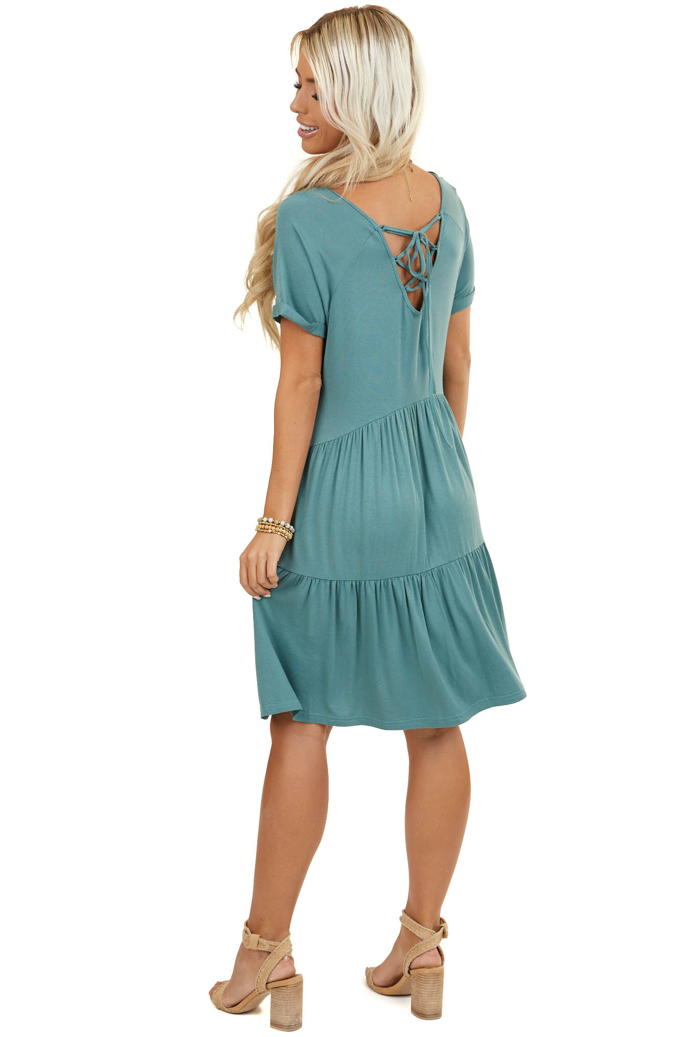 Pine Green Criss Cross Laced Up Back Tiered Short Knit Dress
