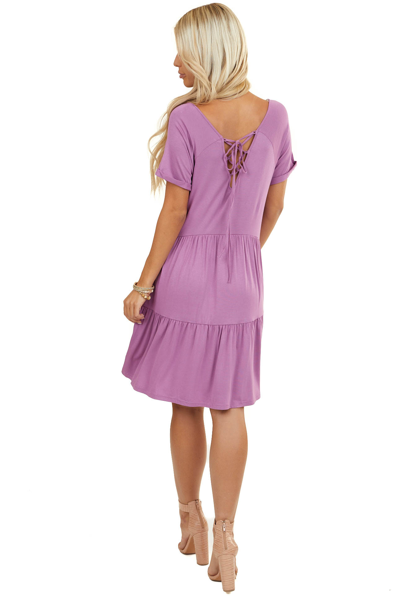Lilac Criss Cross Laced Up Back Tiered Short Knit Dress