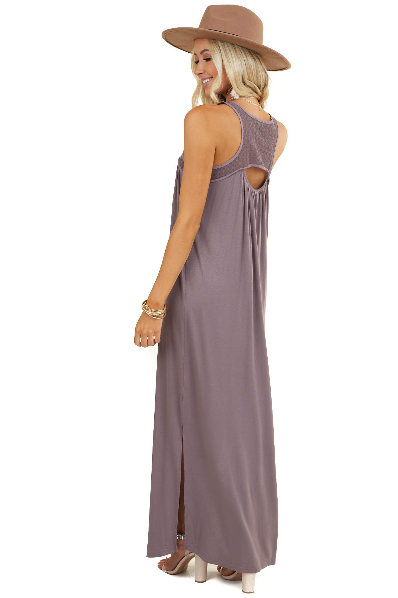 Dusty Lavender Sleeveless Maxi Dress with Dotted Mesh Detail
